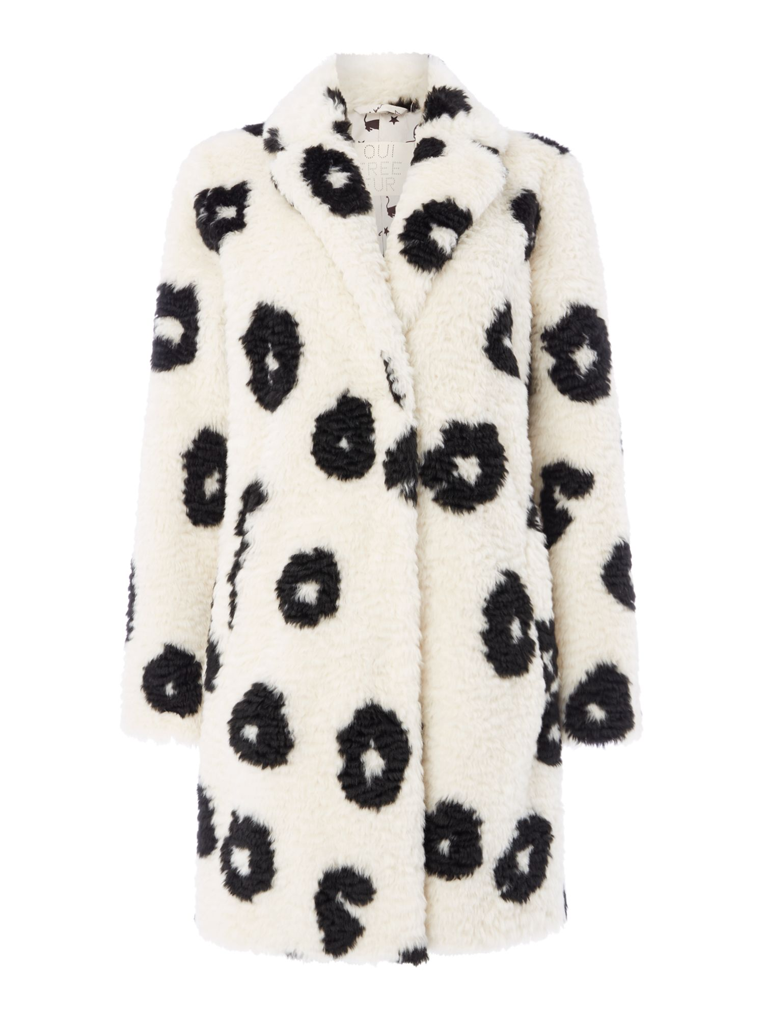 Oui Animal print faux fur coat, Off White