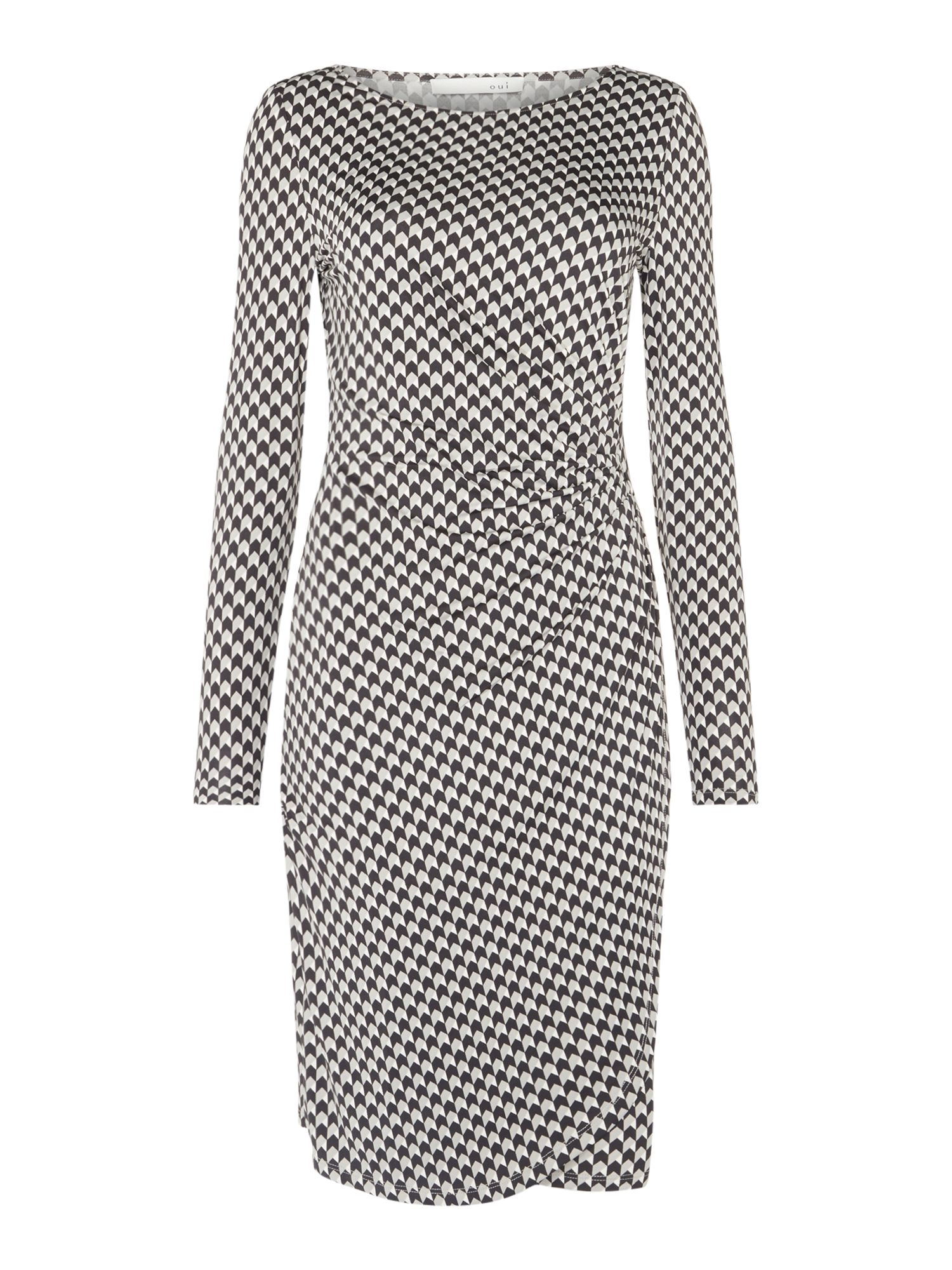 Oui Houndstooth jersey dress, Multi-Coloured