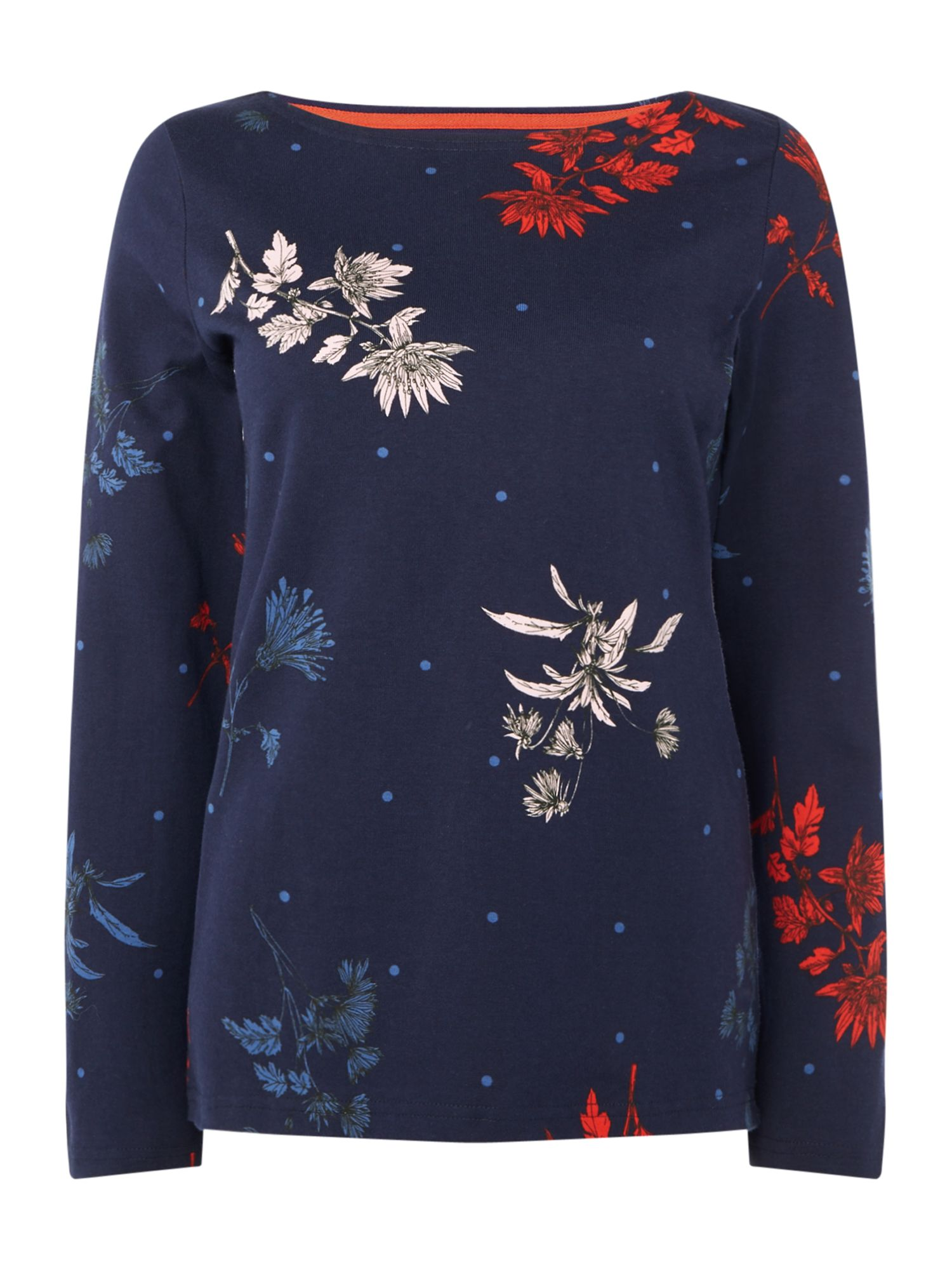 Joules Long sleeves crew neck printed jersey top, Blue & Red