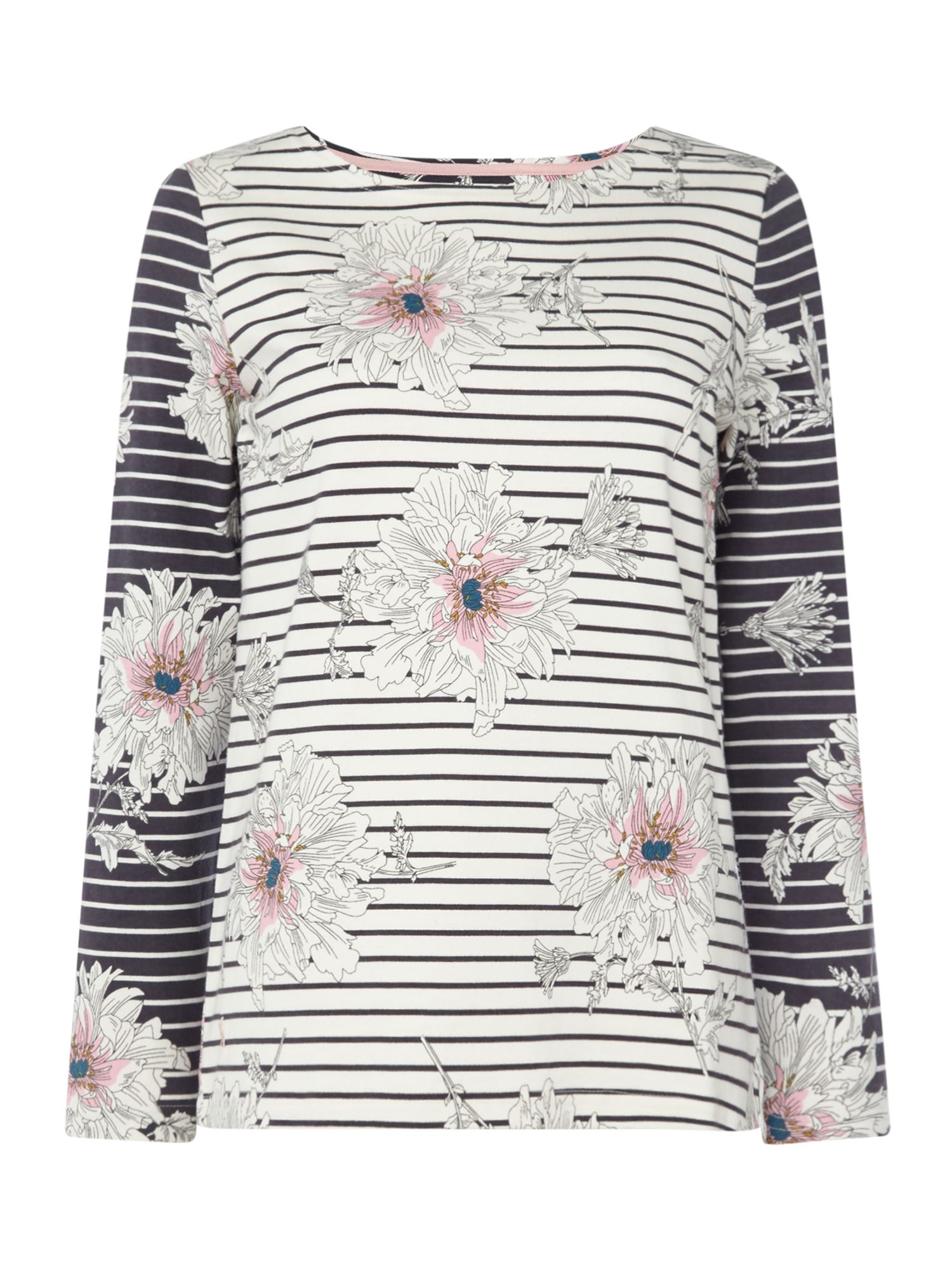 Joules Long sleeves crew neck printed jersey top, Cream