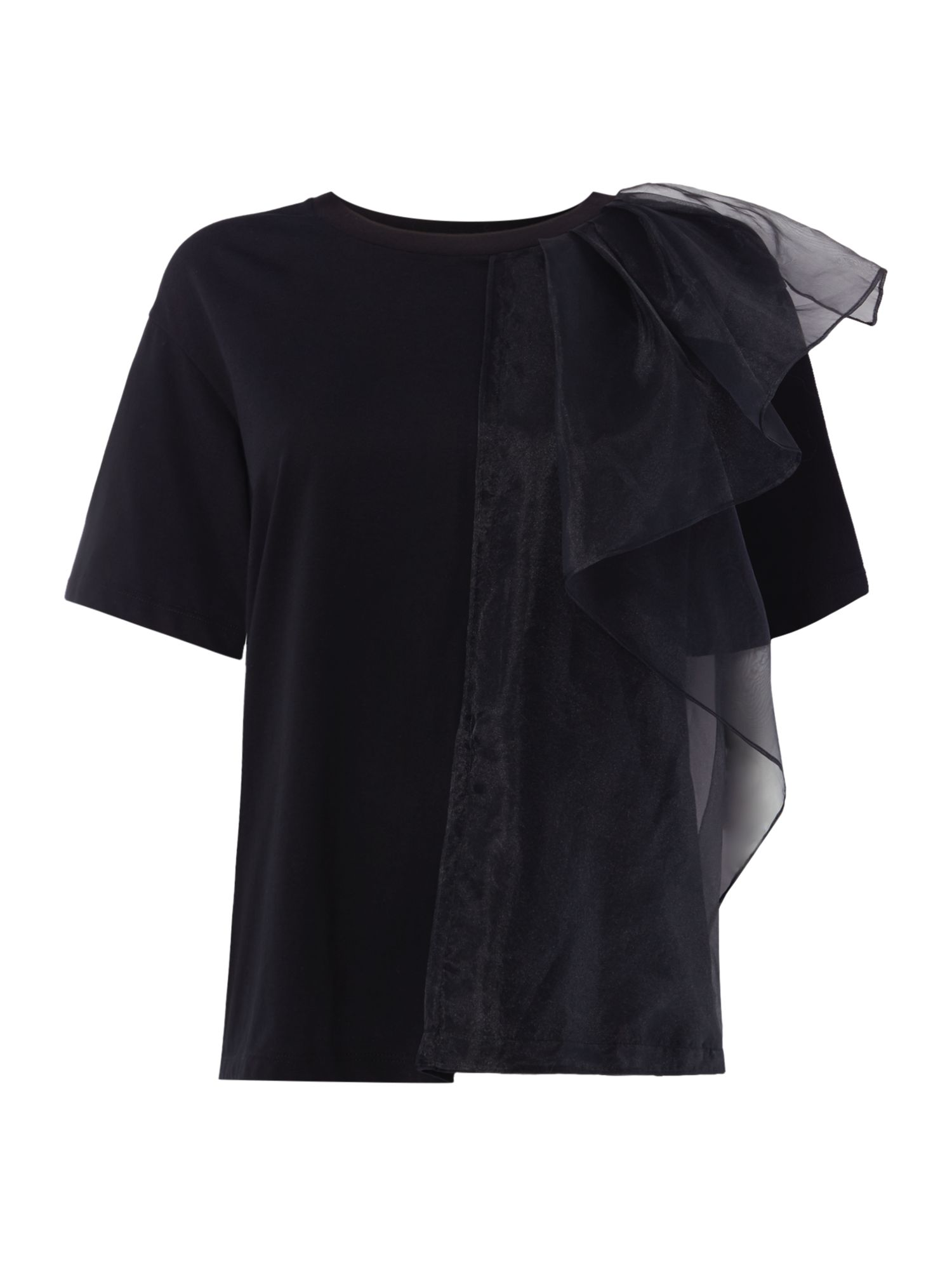 Sportmax Code Livingno t-shirt with ruffle detail, Black
