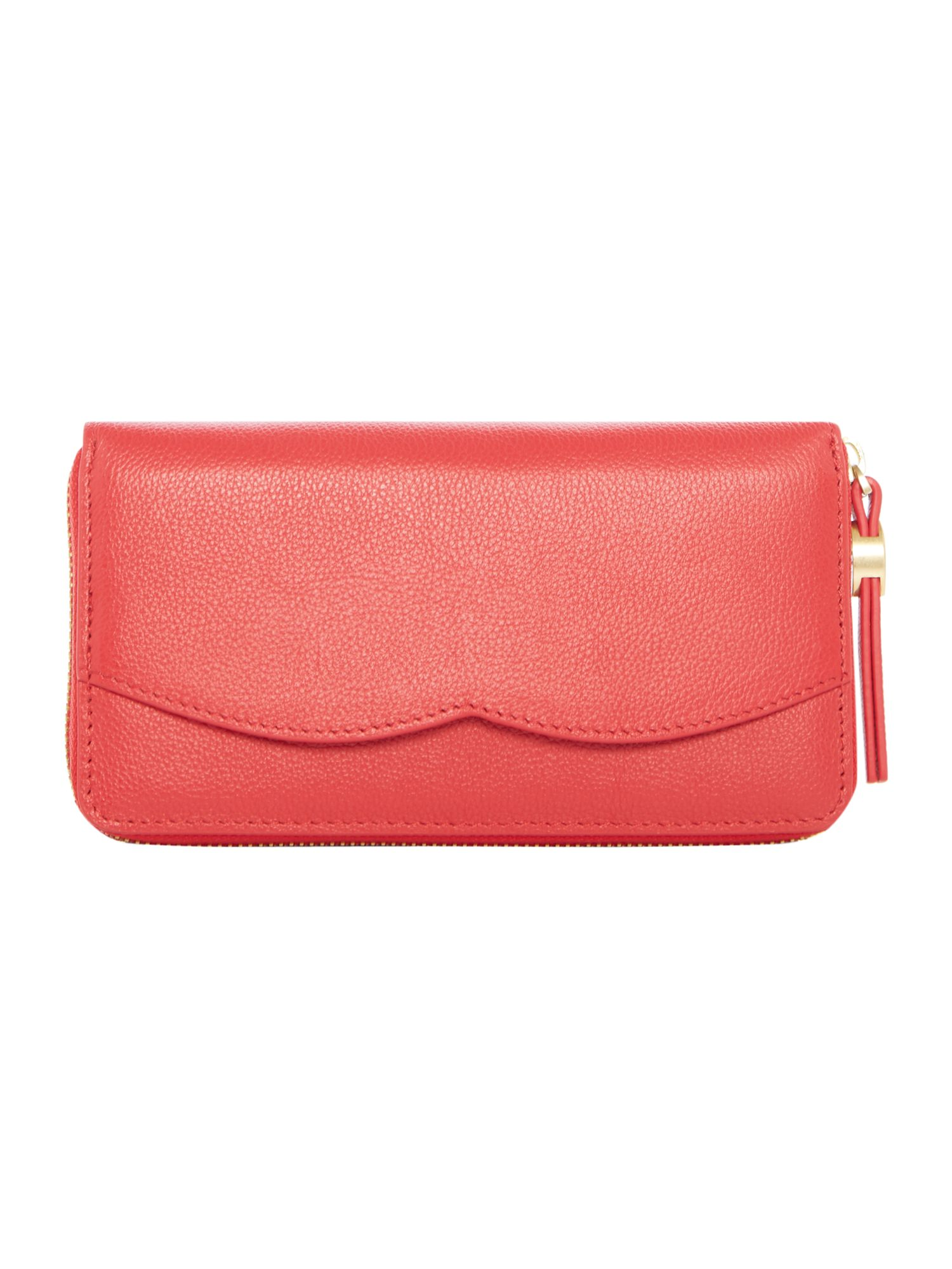 Lulu Guinness Cupids bow large zip around purse, Red