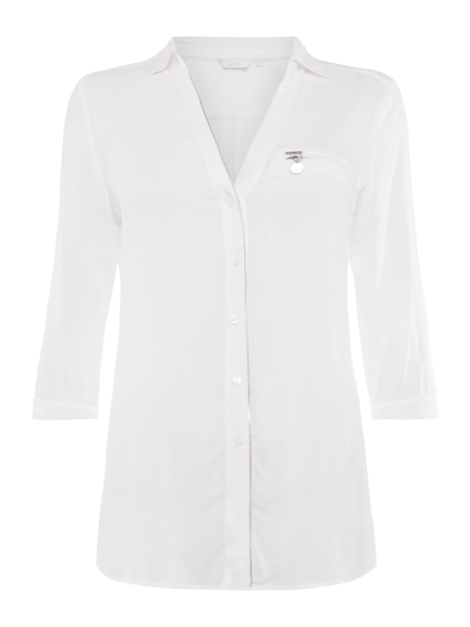 Salsa Long sleeve button up blouse, White