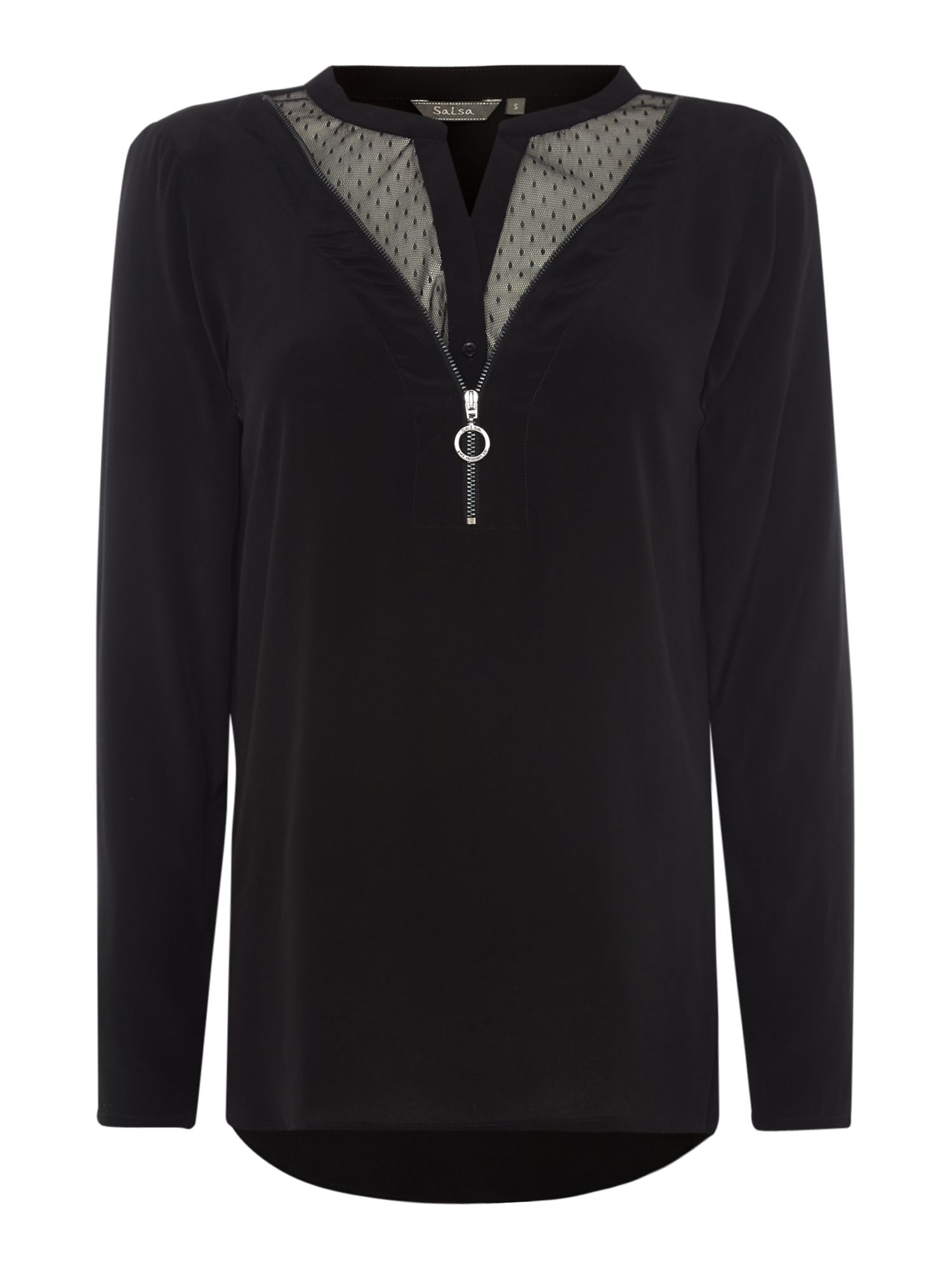 Long Sleeve Mesh Detail Zip Up Blouse, Black