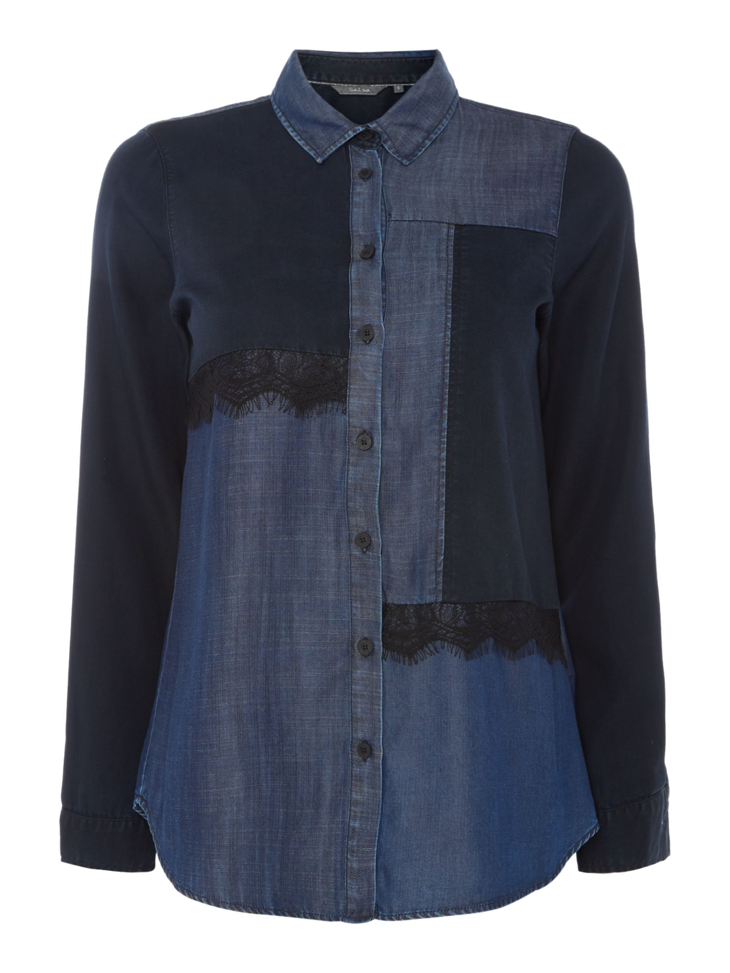 Salsa Long sleeve patchwork denim shirt, Blue