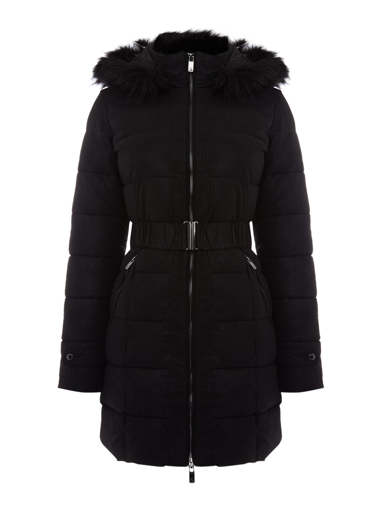Salsa Long sleeve belted padded coat with faux fur hood, Black