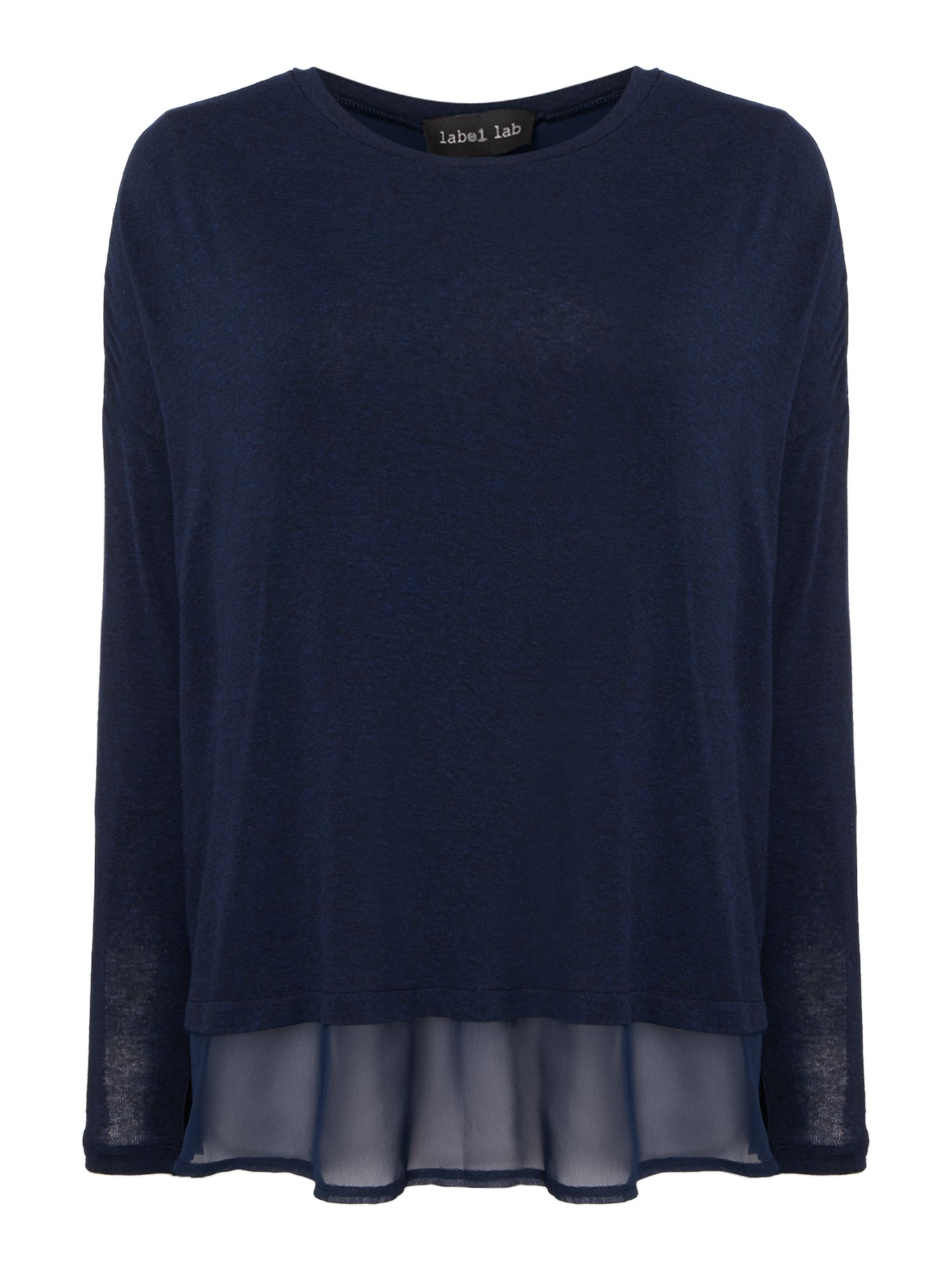 Label Lab Twist Back Knit & Chiffon layer top, Blue.
