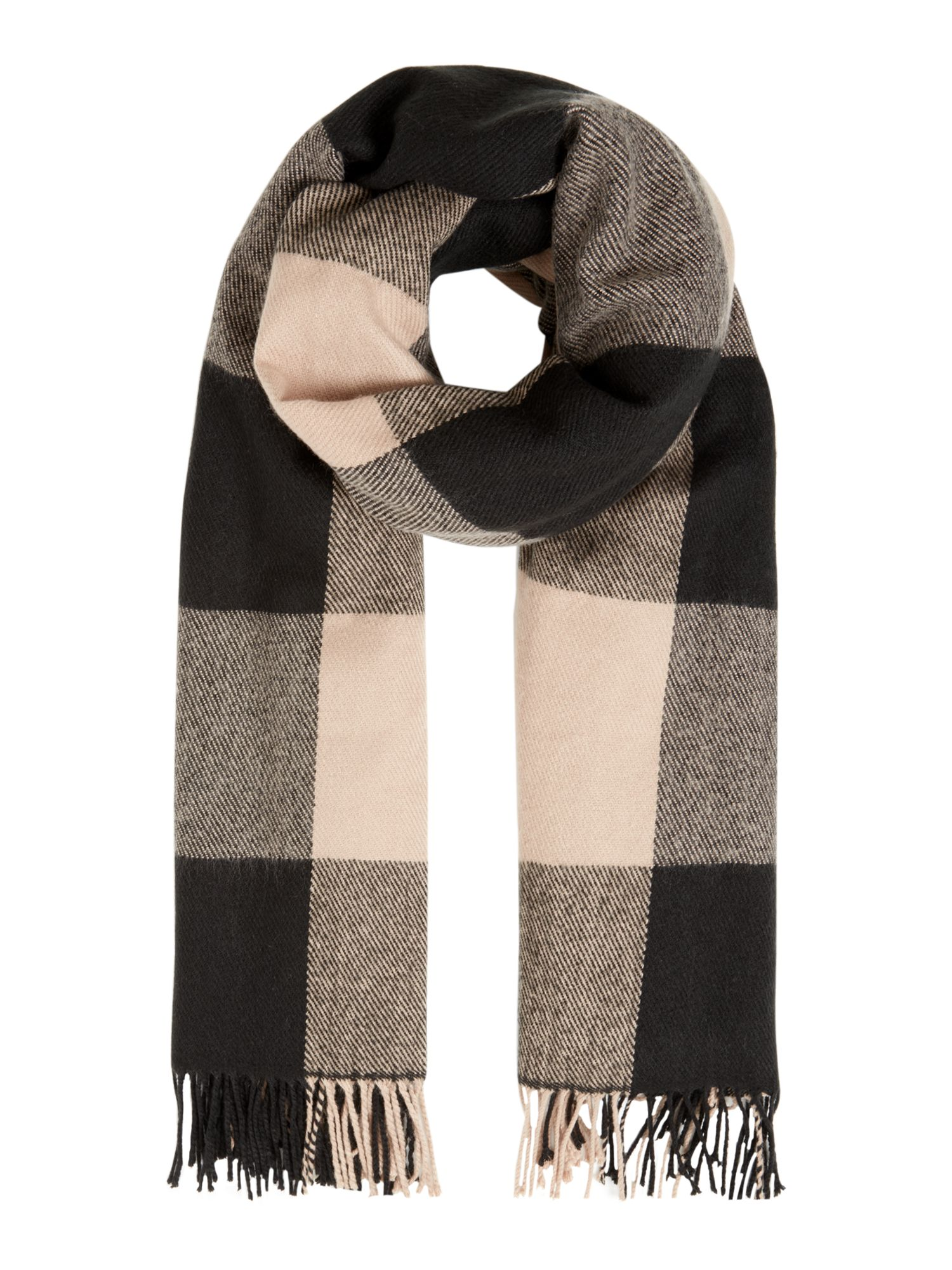 Linea Block Check Scarf, Neutral