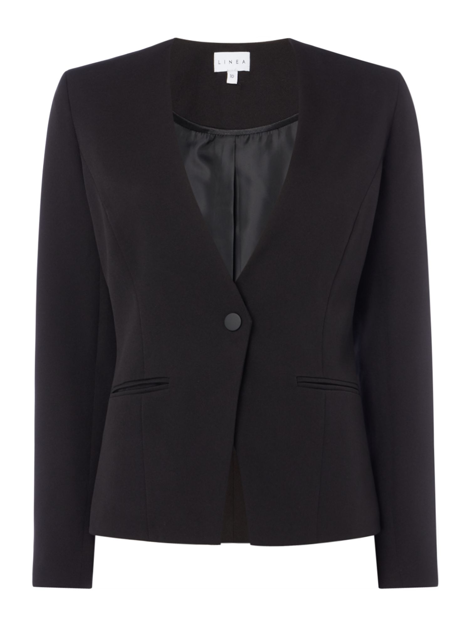 Linea Khloe structured jacket with popper, Black