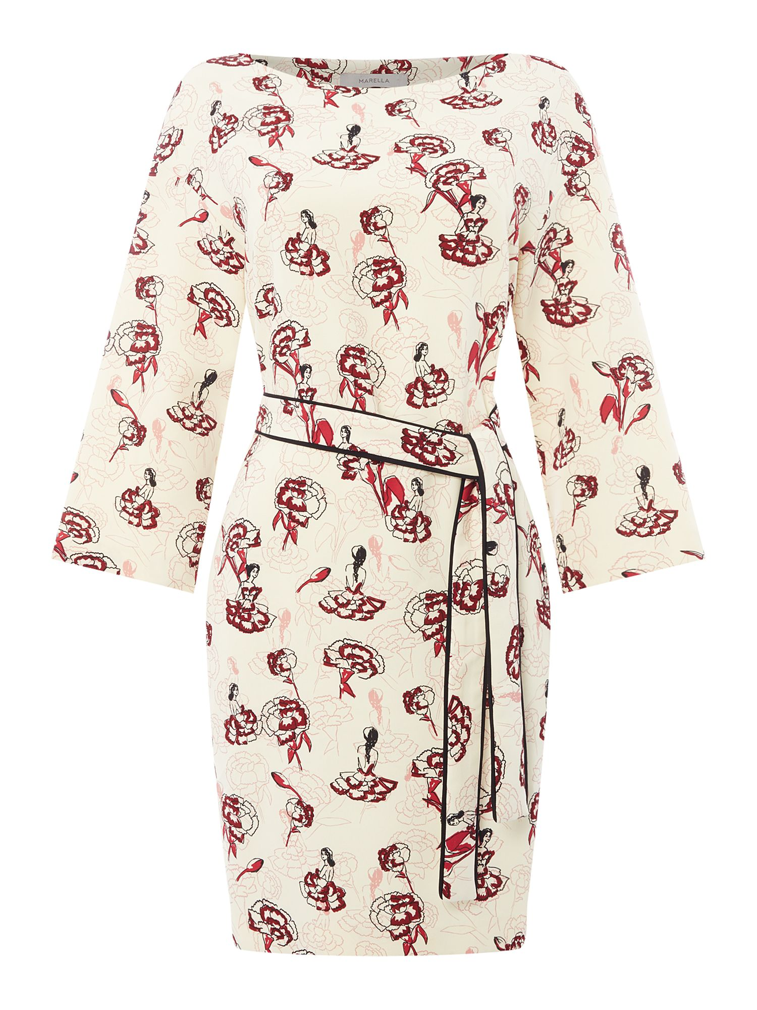 Marella Bacheca ballerina printed dress with waist tie, Cream