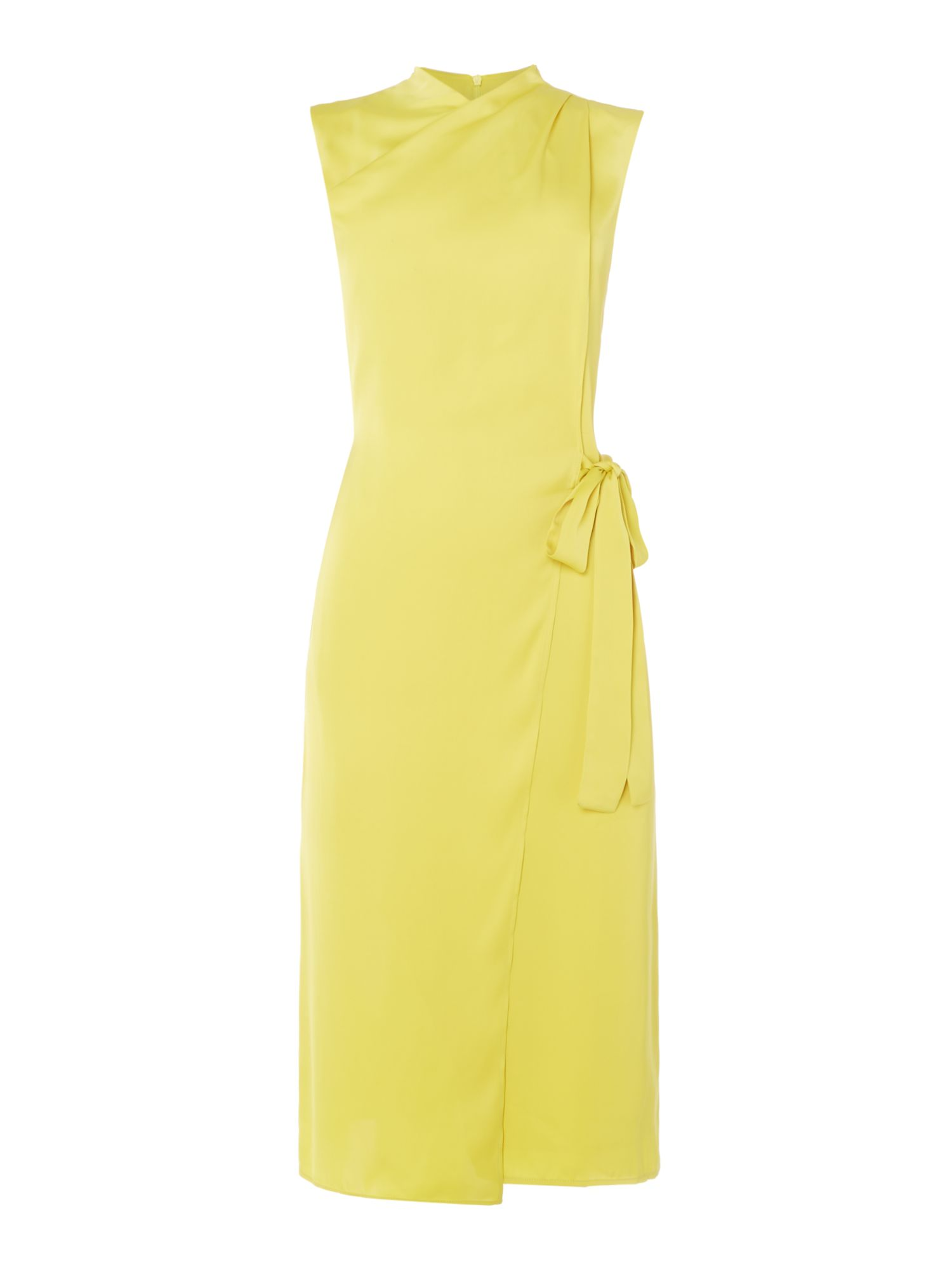 ISSA Stella Wrap Front Tie Dress, Lime