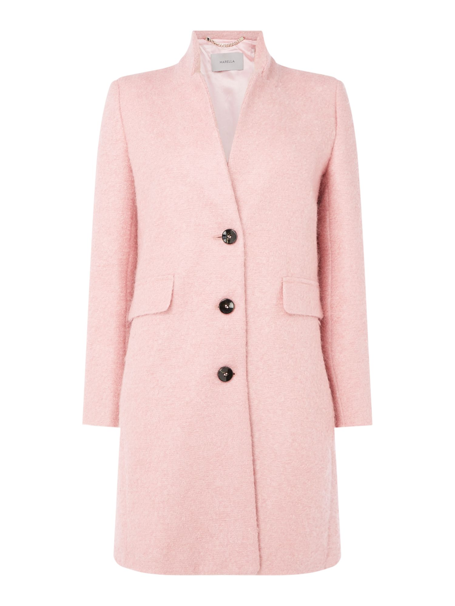 Marella Liguria long sleeve pink wool coat, Pink
