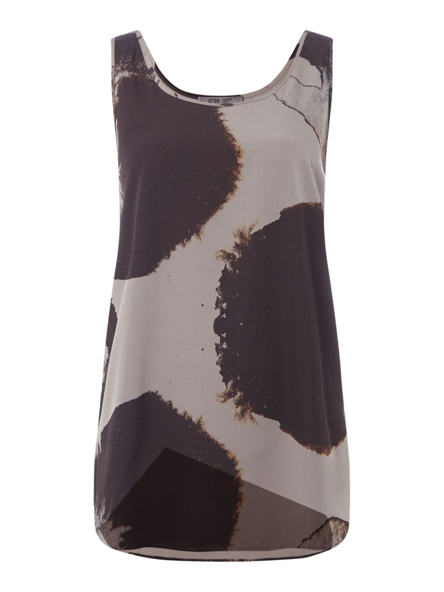 Crea Concept Abstract print sleeveless top, Grey