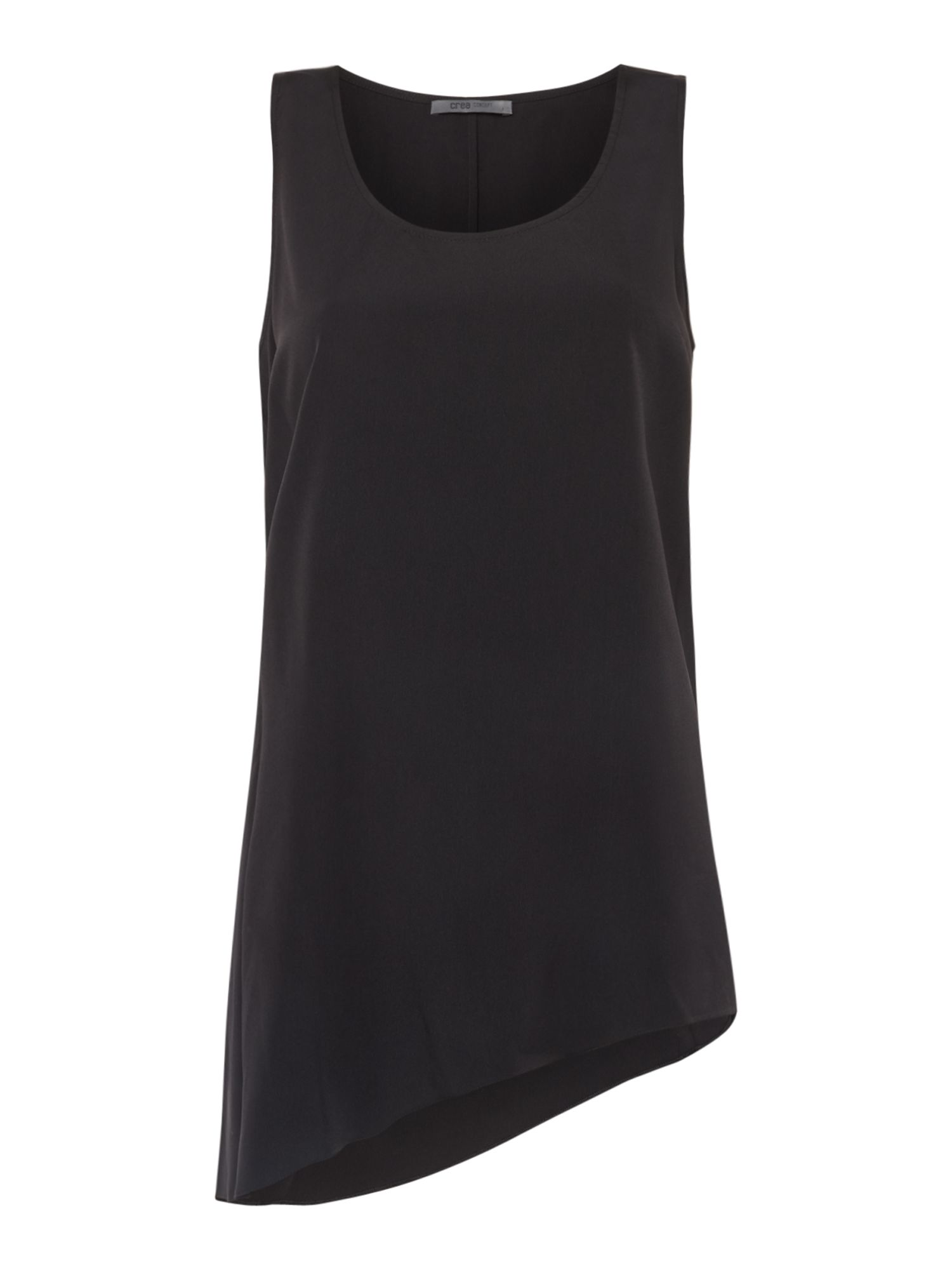Crea Concept Asymmetric sleeveless top, Black