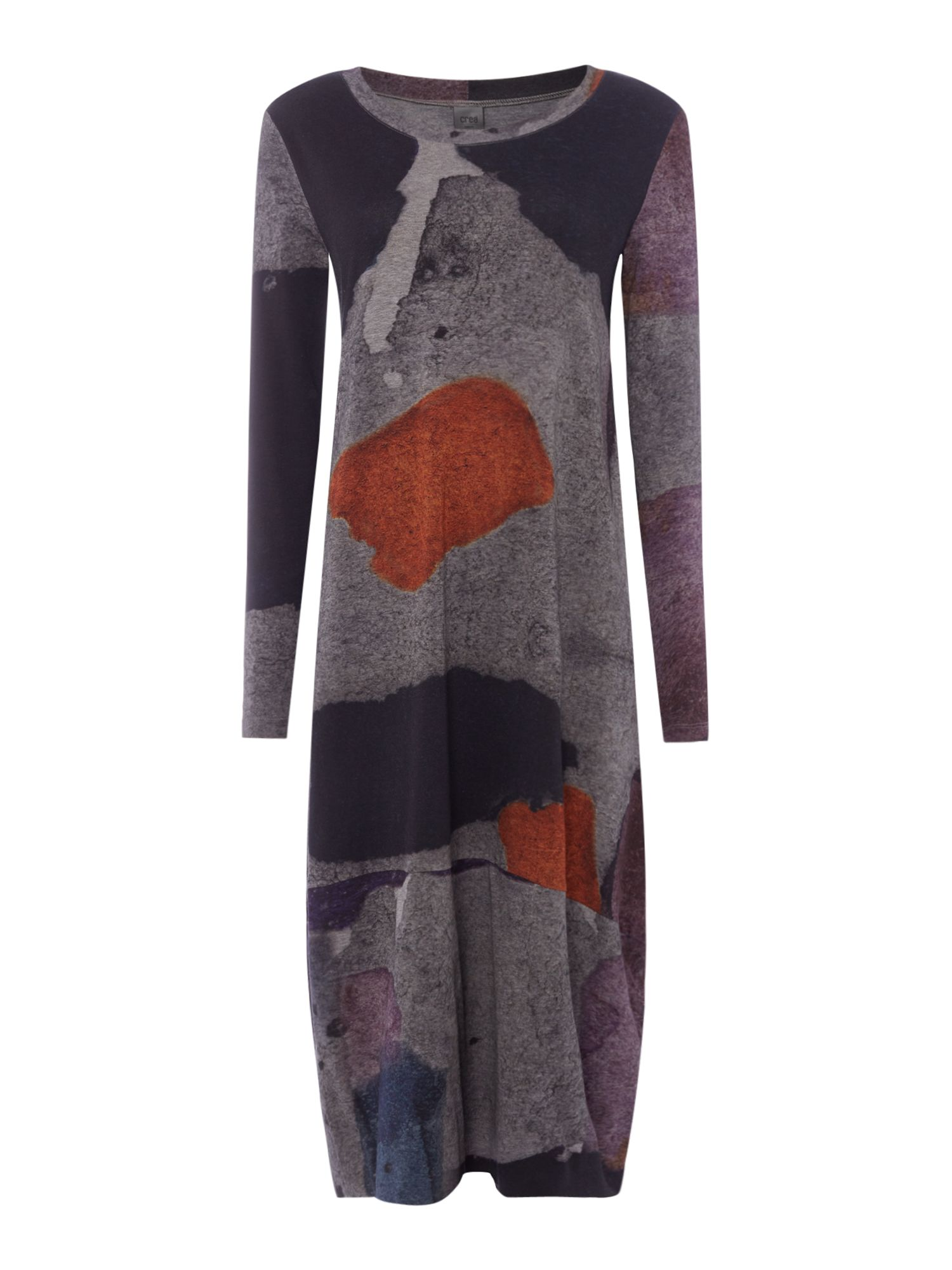 Crea Concept Multi abstract print long dress, Multi-Coloured