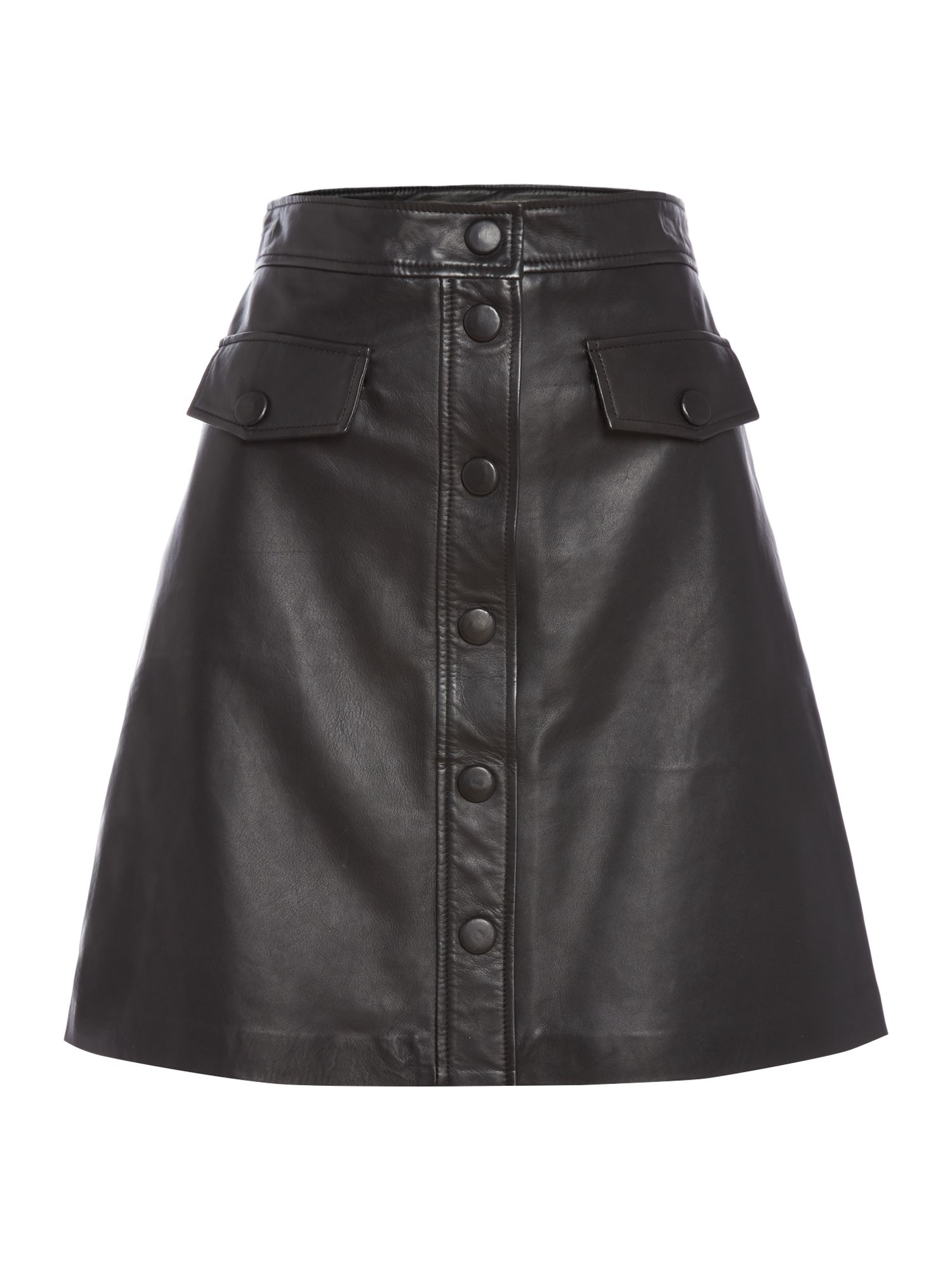 Biba Leather button front skirt, Black