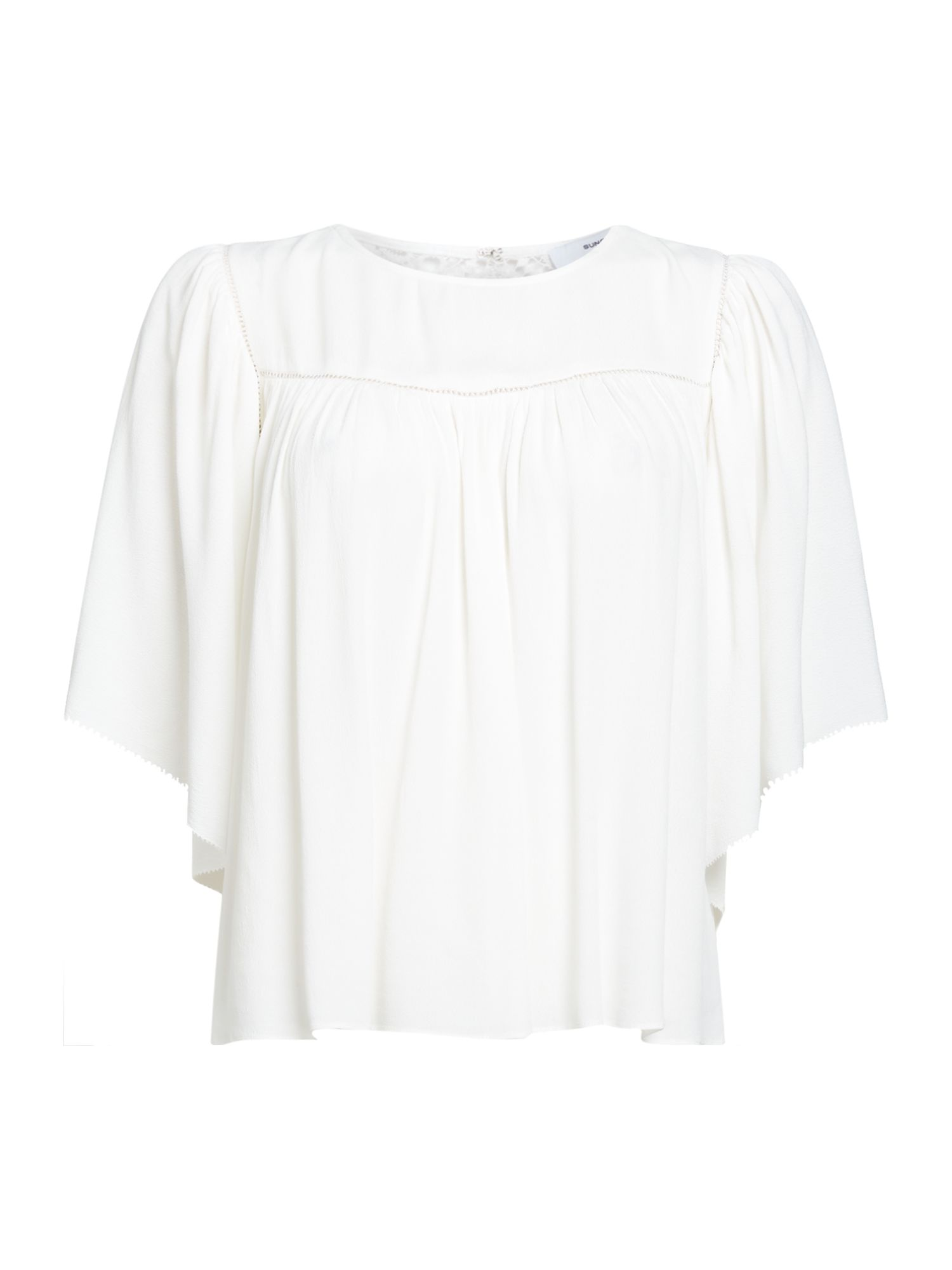 Suncoo Short sleeves Lace Back Top, Off White
