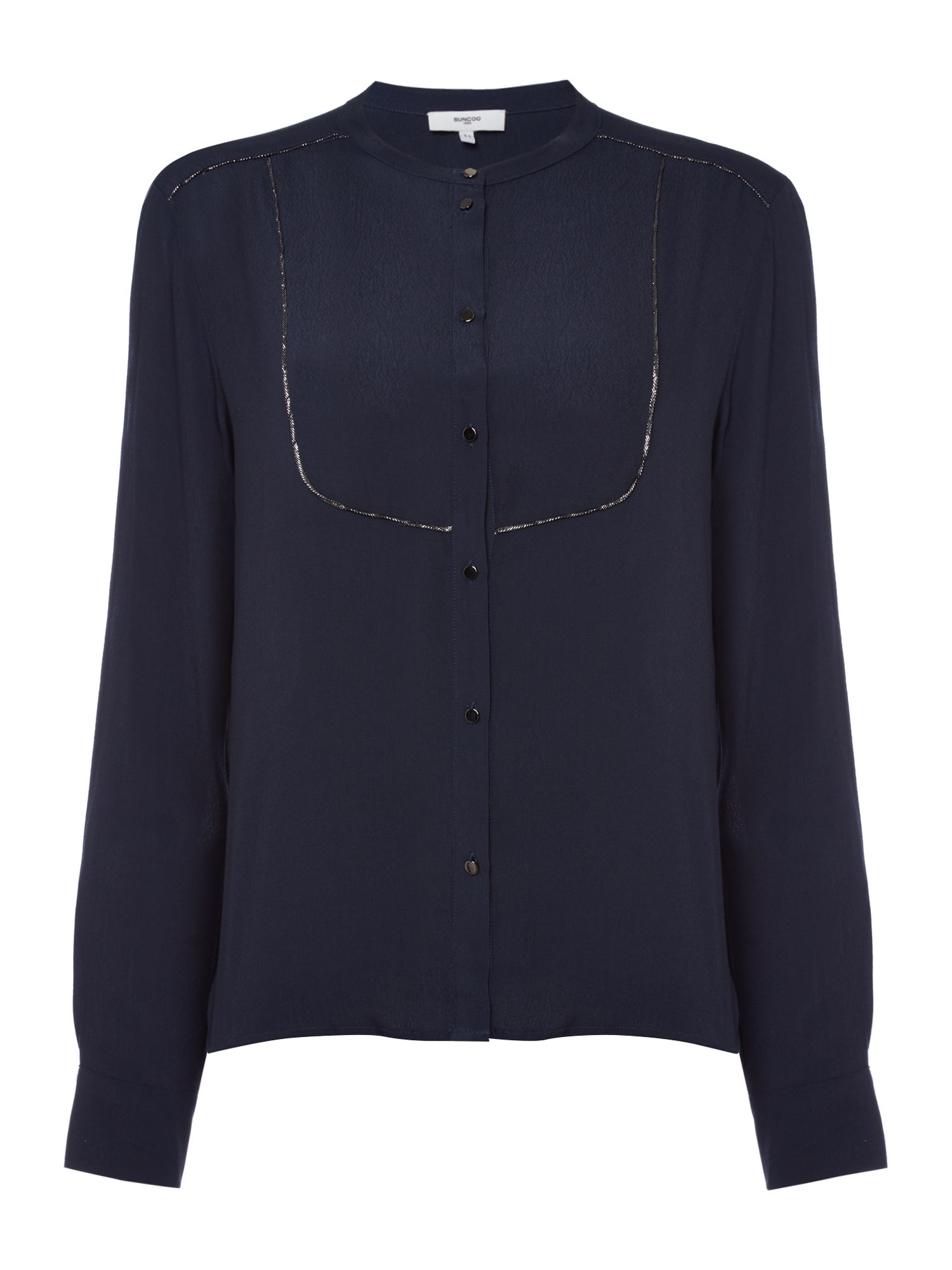 Suncoo Long sleeves Metallic Trim Blouse, Dark Blue
