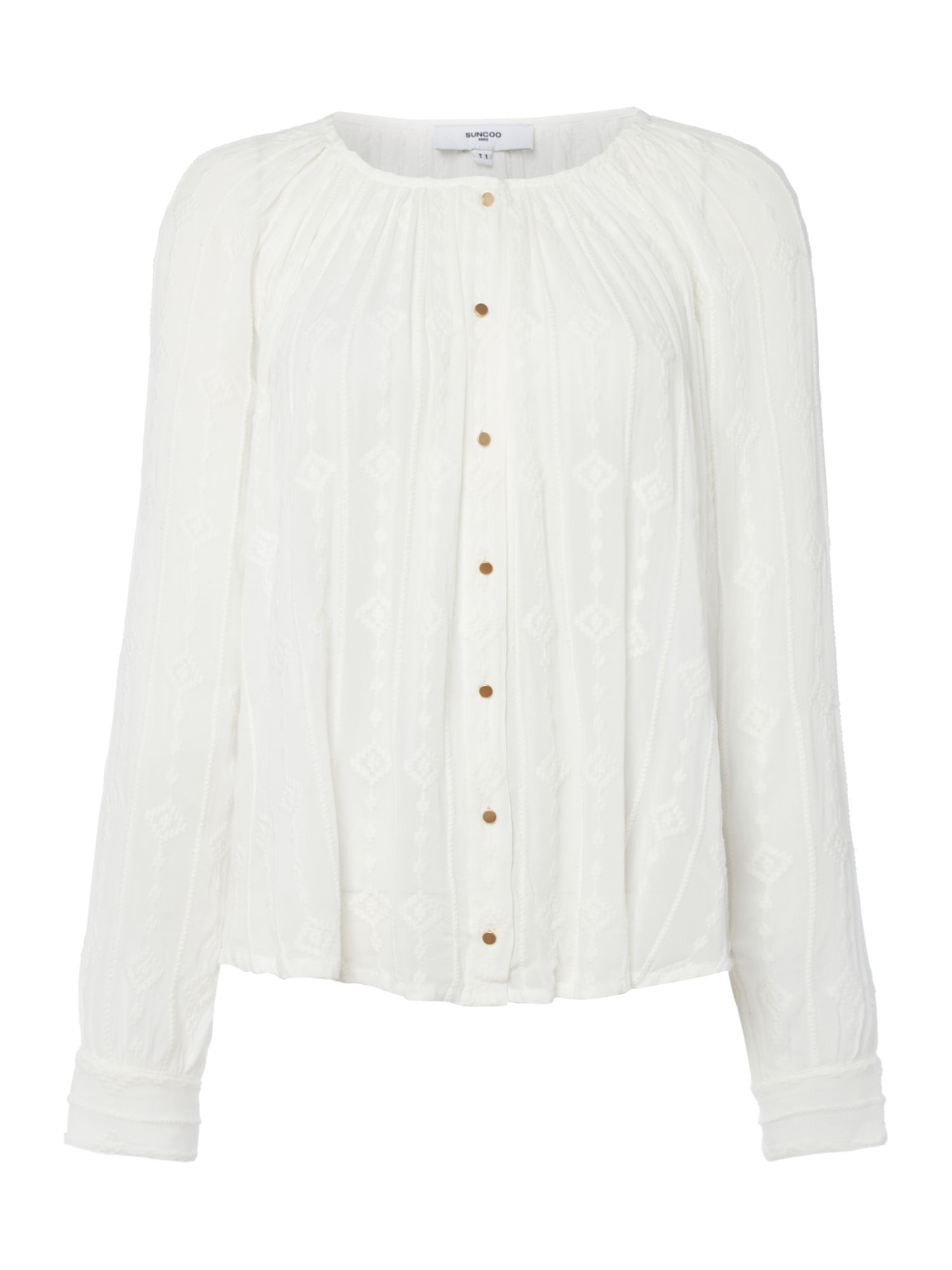 Suncoo Long Sleeves Embroidered Blouse, Off White