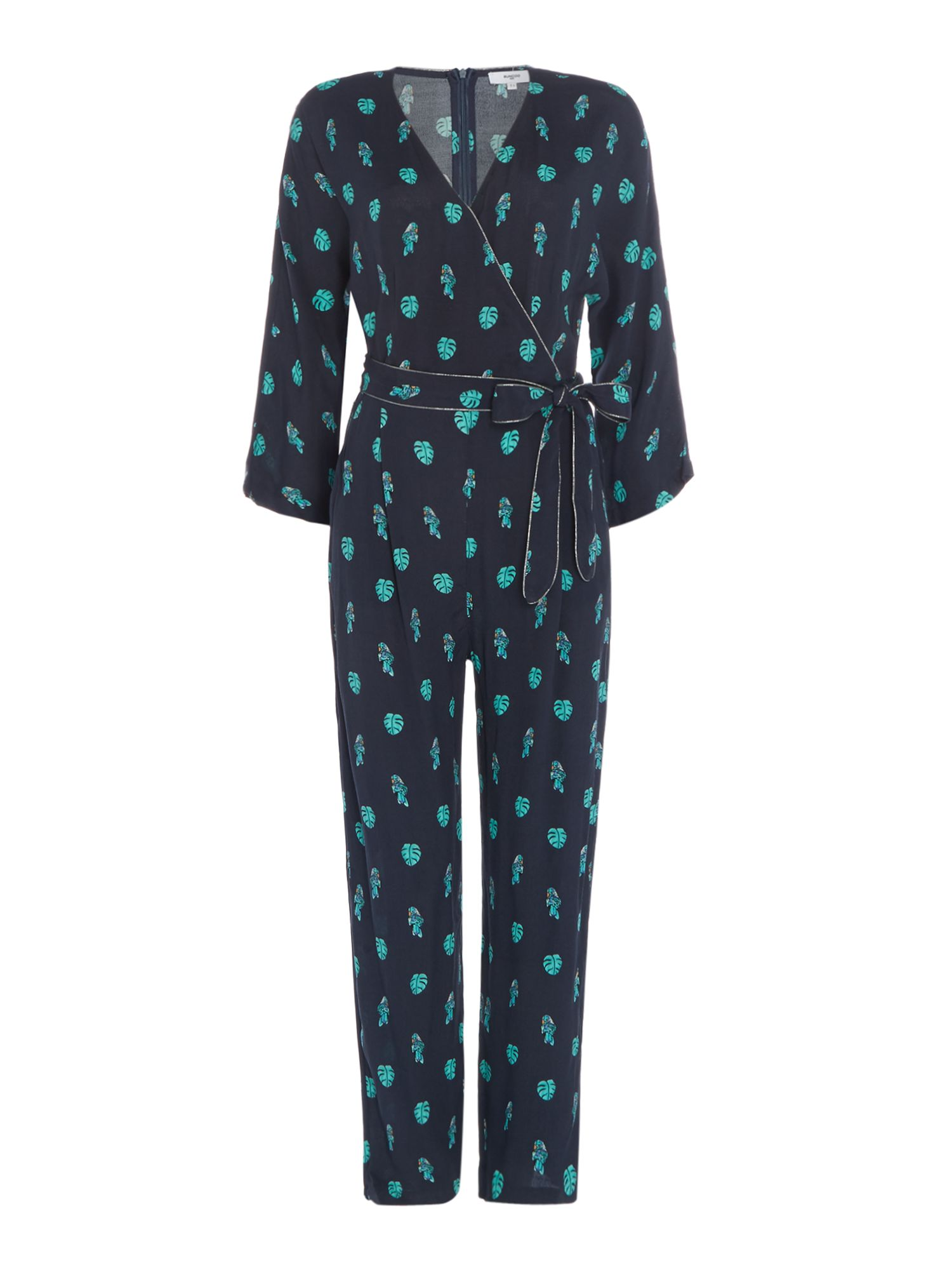 Suncoo Long sleeves Wrap Jumpsuit with Wrap Tie Waist, Dark Blue