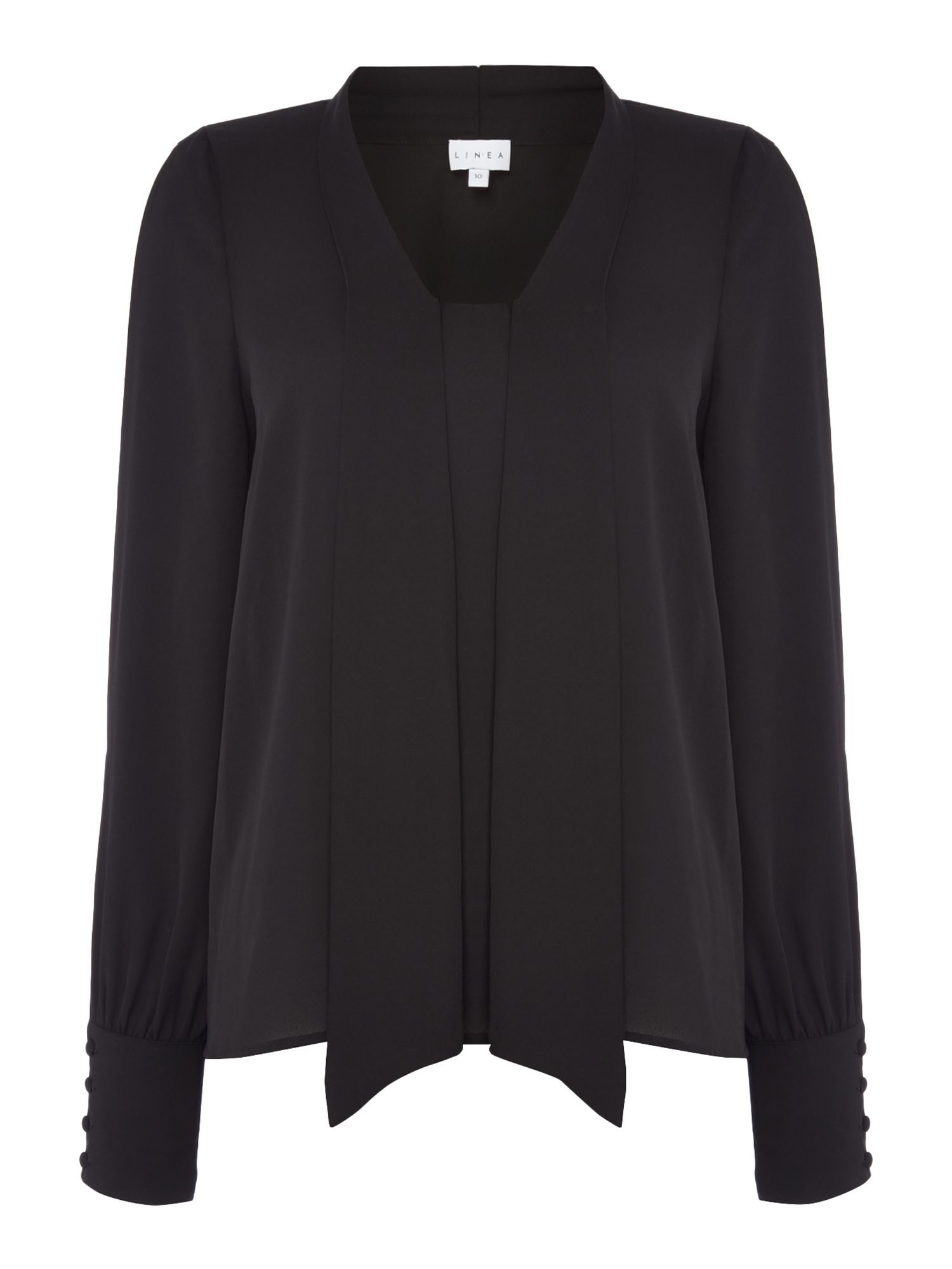 Linea Cold sleeve pussy bow blouse, Black