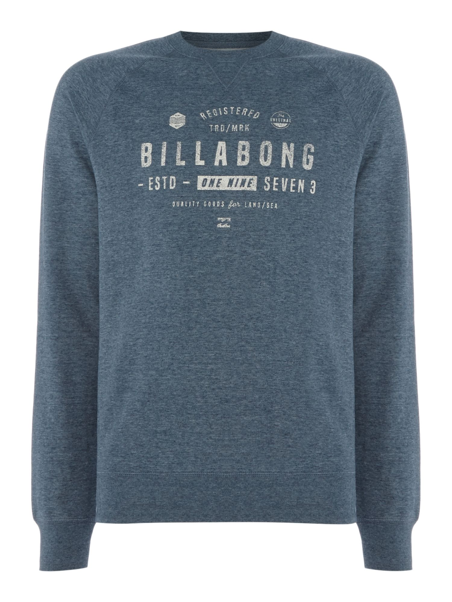 Men's Billabong Brushed Fleece Crewneck Fleece, Mid Blue
