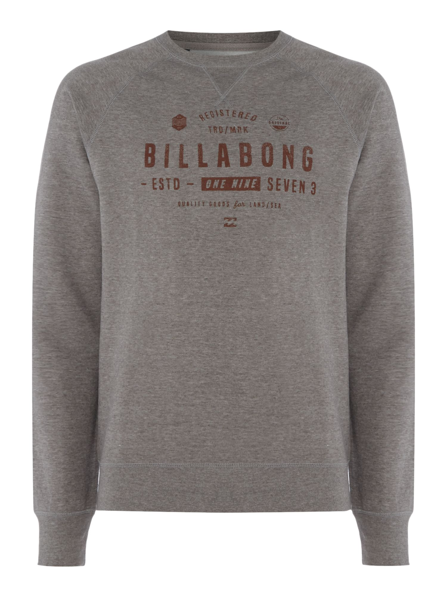 Men's Billabong Brushed Fleece Crewneck Fleece, Grey