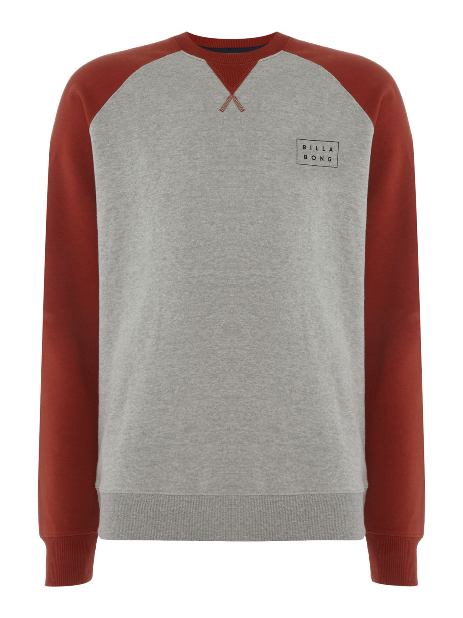 Men's Billabong Brushed Fleece Raglan Sleeve, Grey