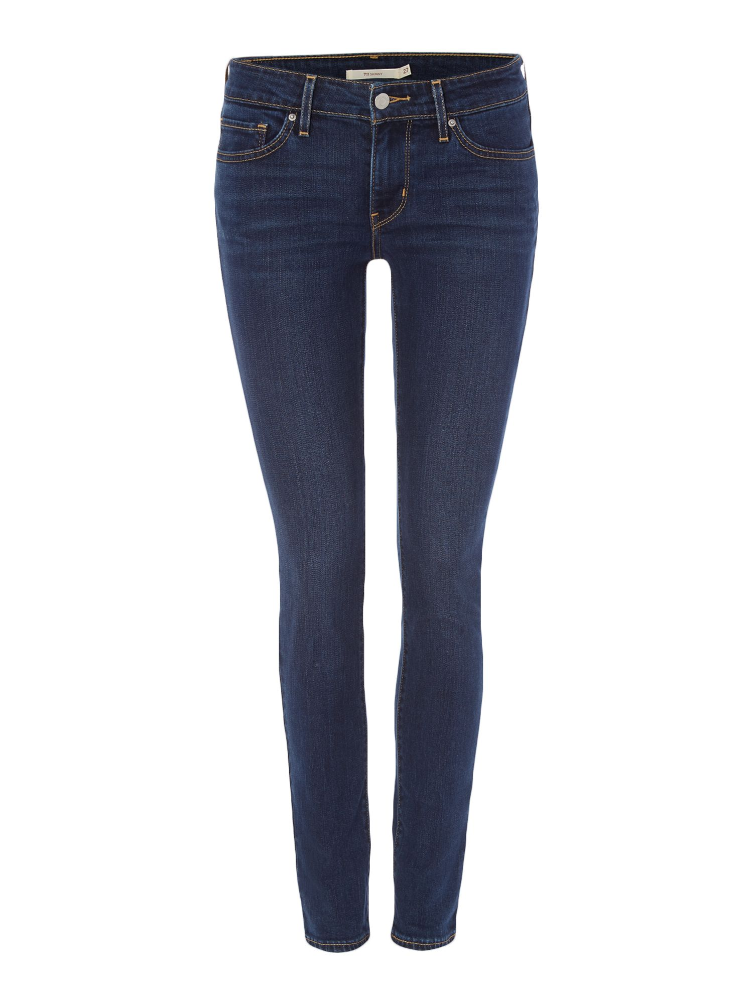 Levis 711 Skinny High Rise Jeans In City Blues, Denim Dark Wash