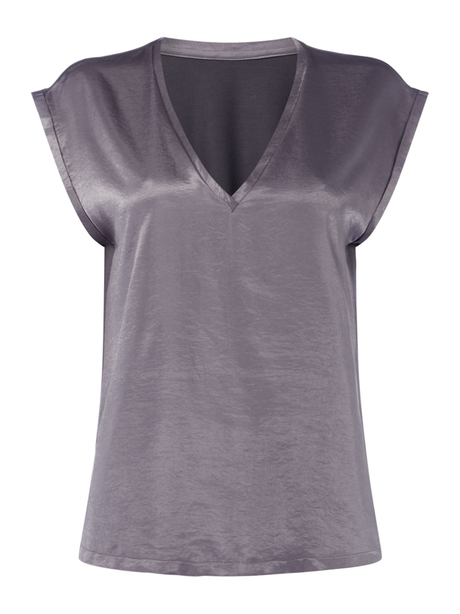 Linea Mae woven front jersey back t shirt, Grey