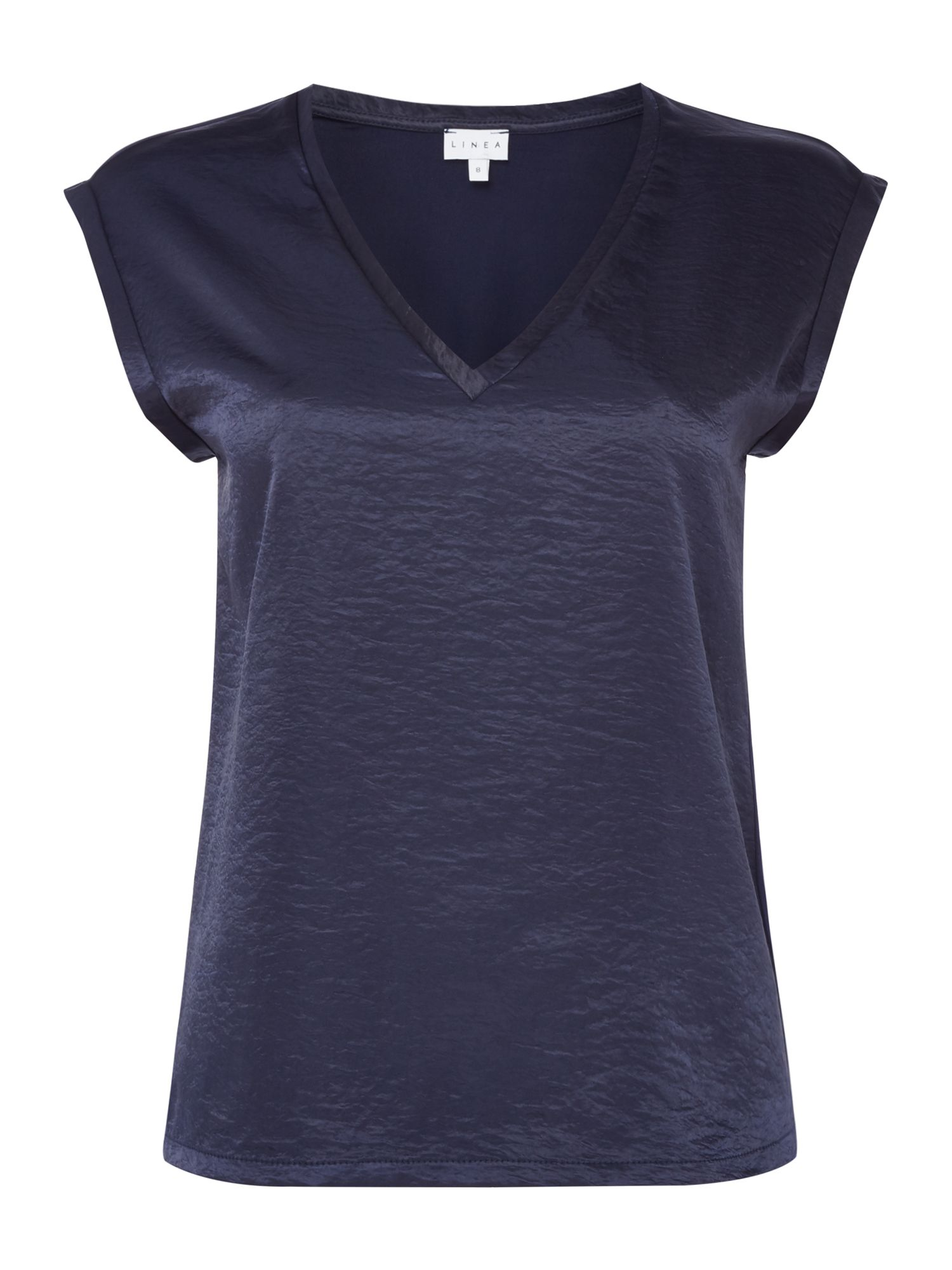 Linea Mae woven front jersey back t shirt, Blue