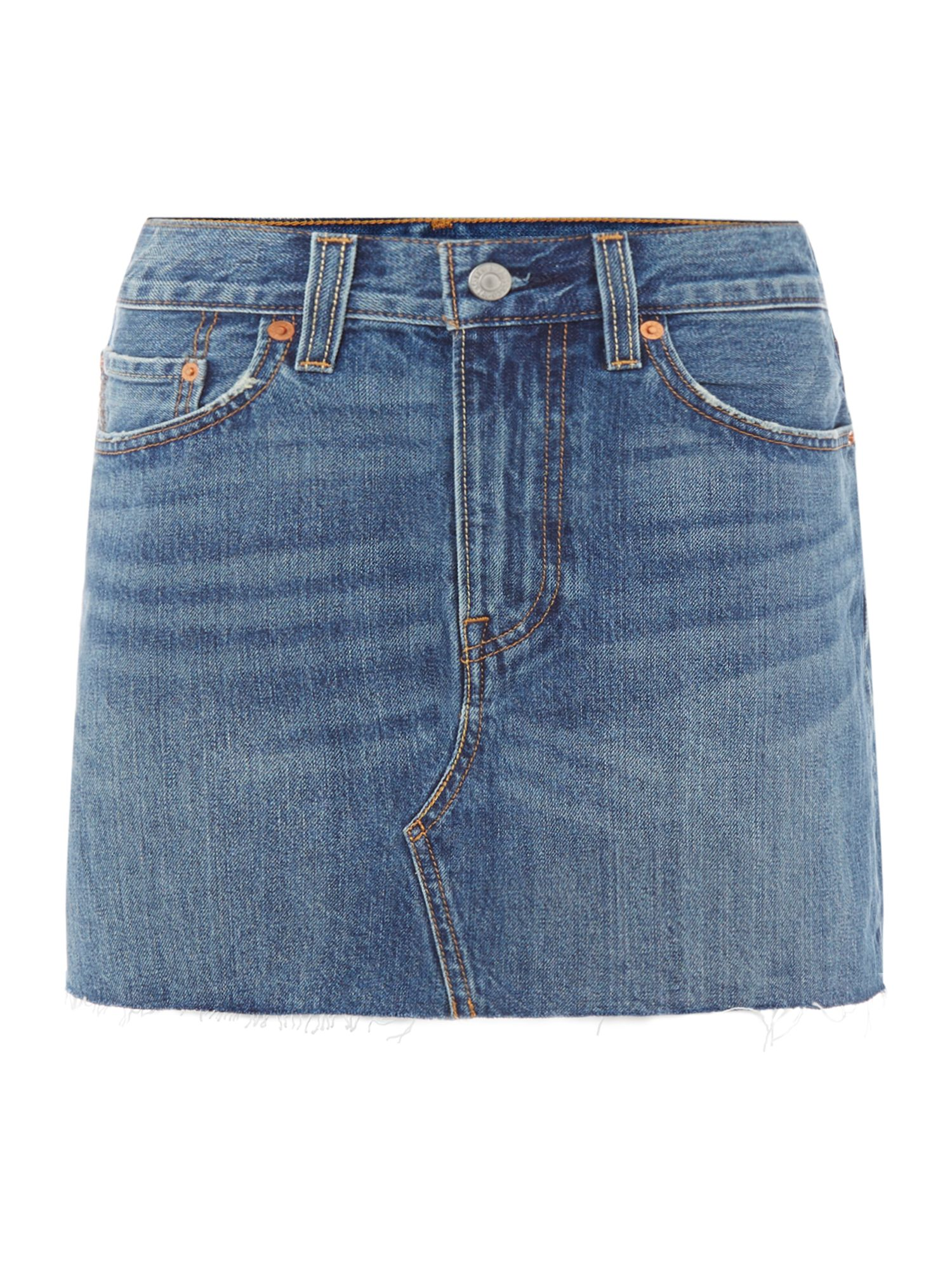 Levi's Denim Mini Skirt With Raw Hem In War Torn Blues, Denim Mid Wash