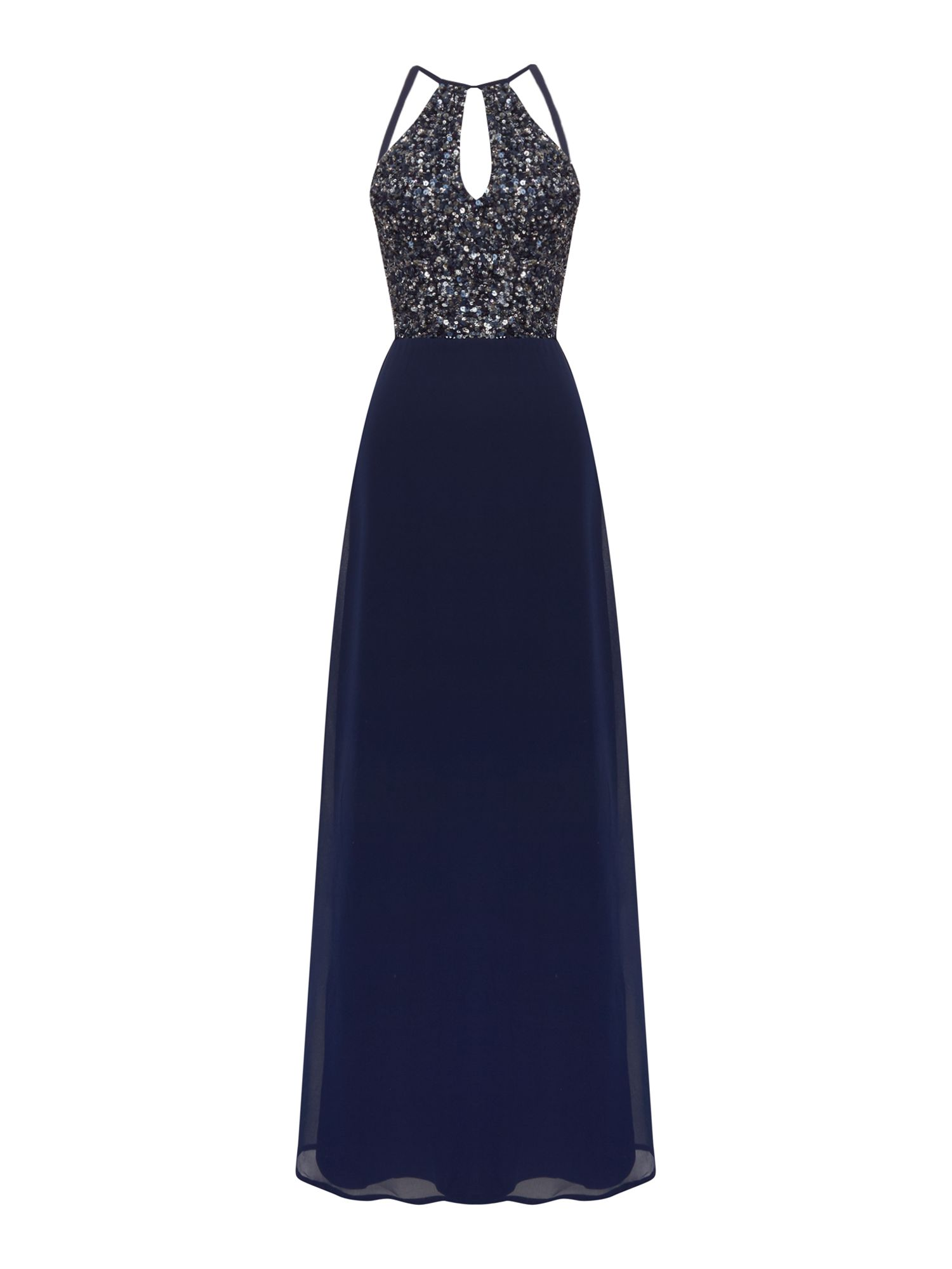 Lace and Beads Sleeveless keyhole maxi dress, Blue