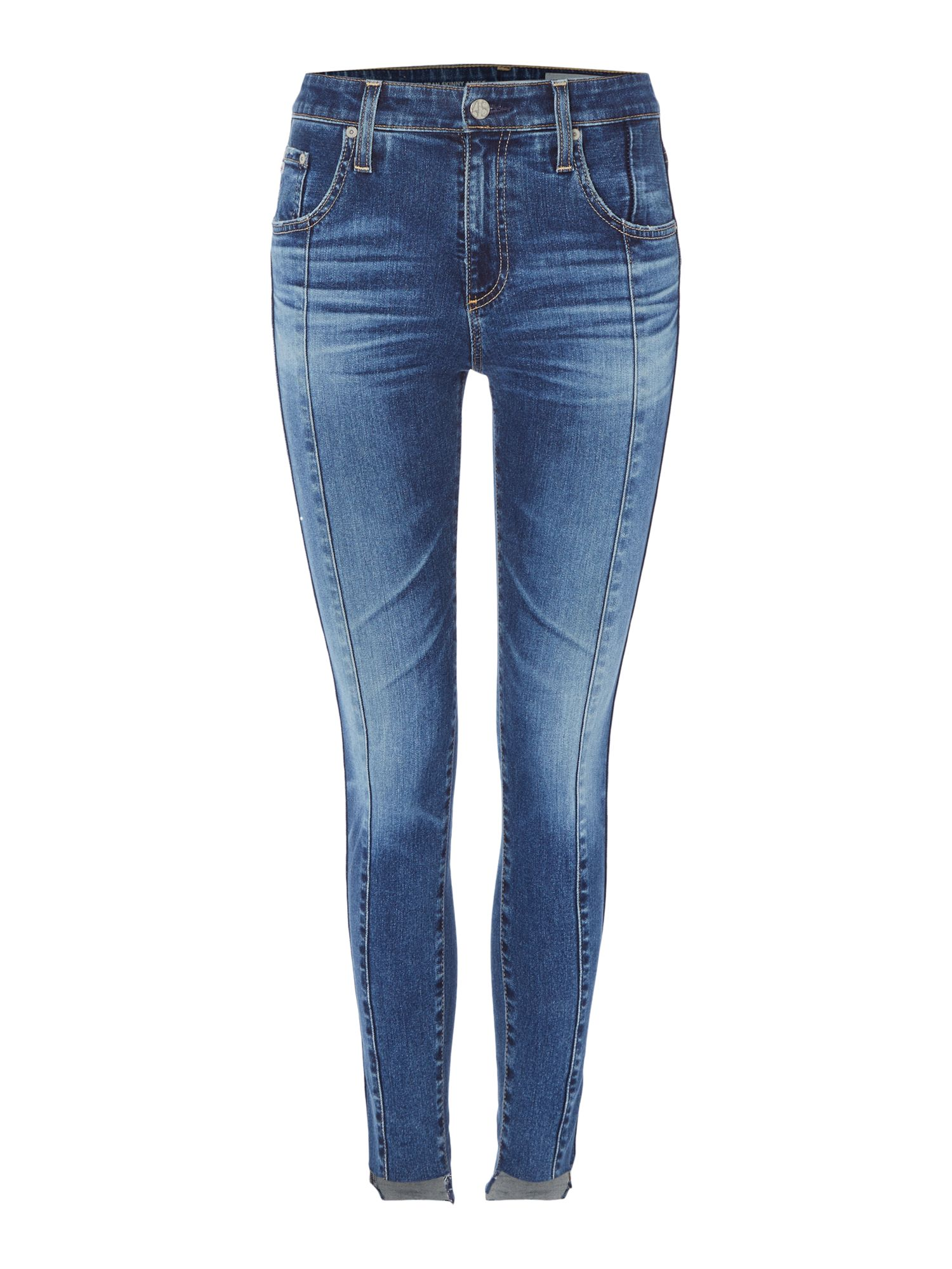 AG Jeans Farrah Skinny Ankle Jeans with Seam Front, Denim Mid Wash