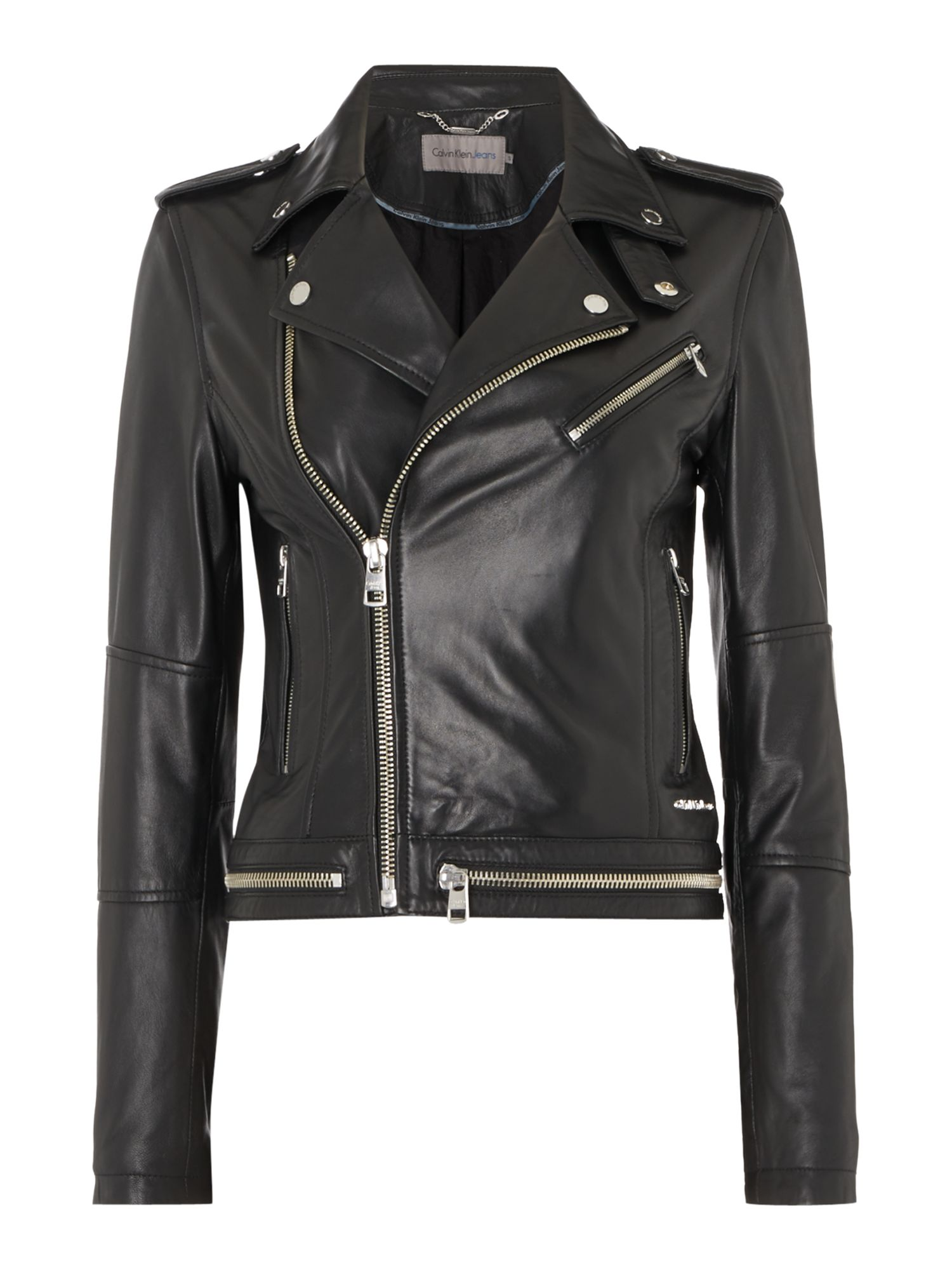 Calvin Klein Moza Biker Jacket In Soft Leather, Black