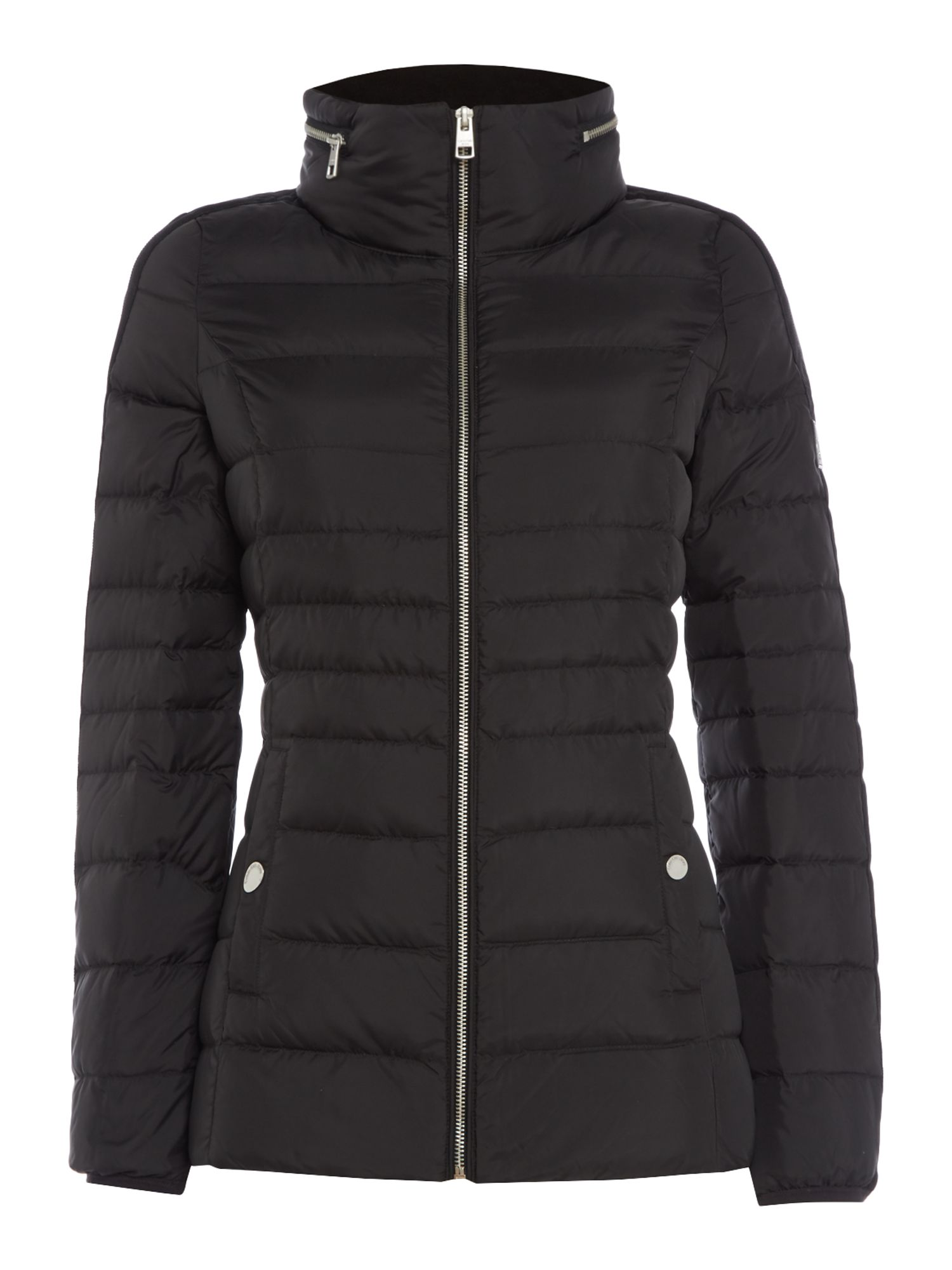 Calvin Klein Obara Puffa Jacket With High Neck in CK Black, Black