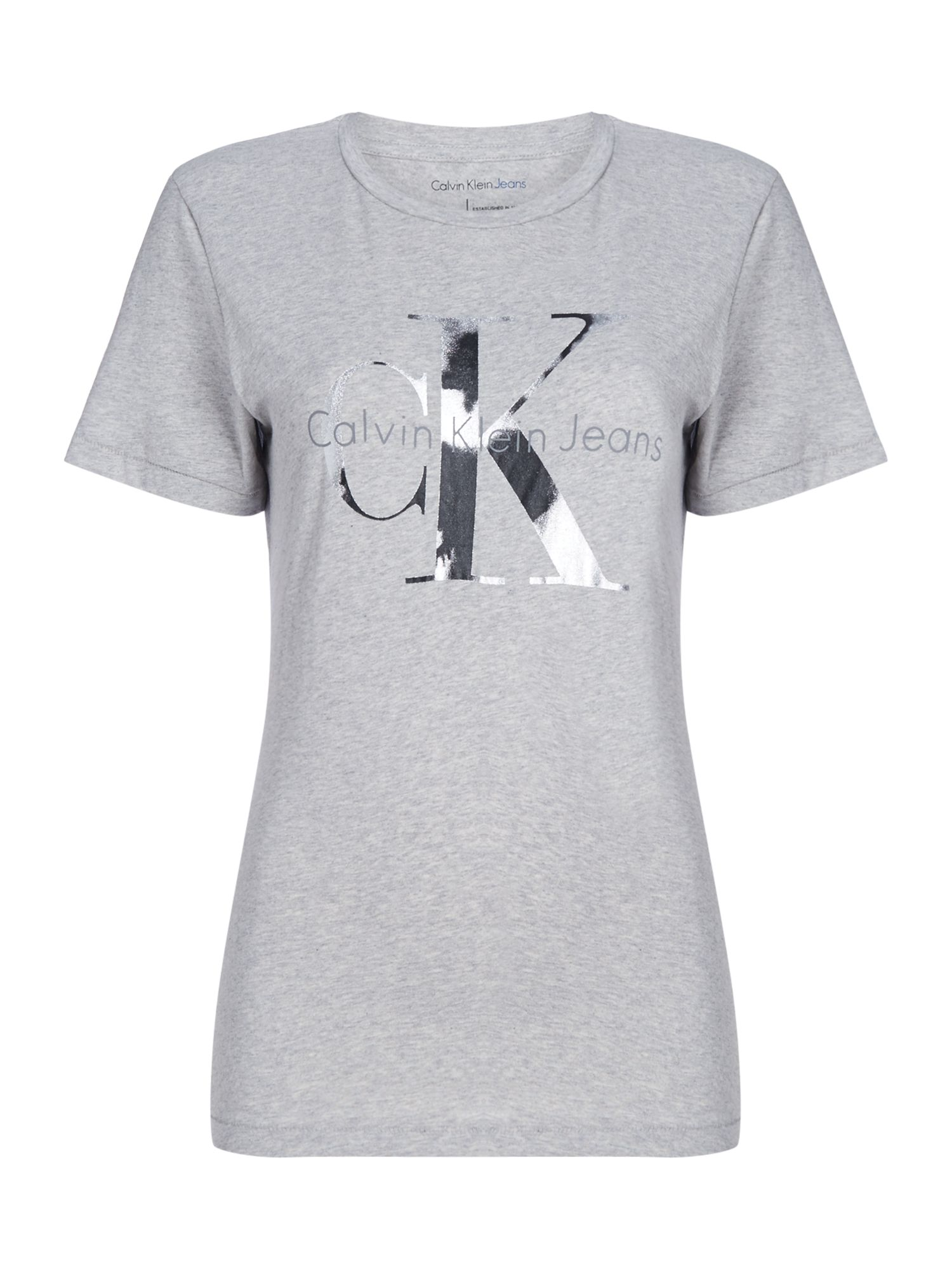 Calvin Klein Short Sleeves CK Logo Tee Shirt, Grey