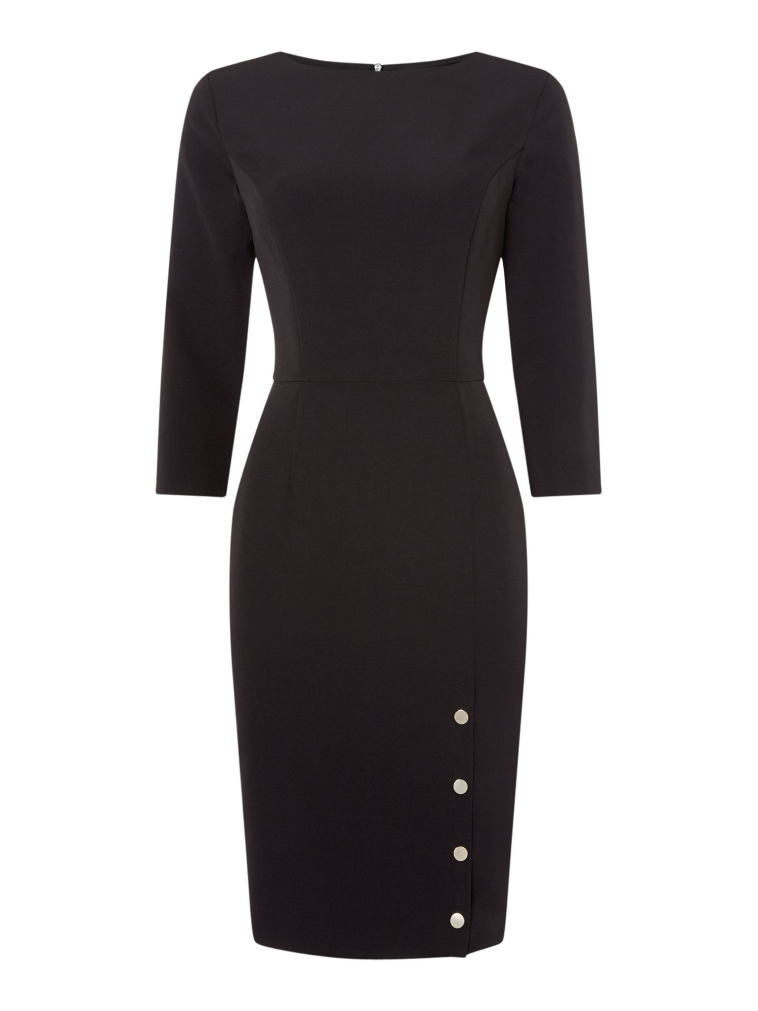 Linea Macey popper detail dress, Black