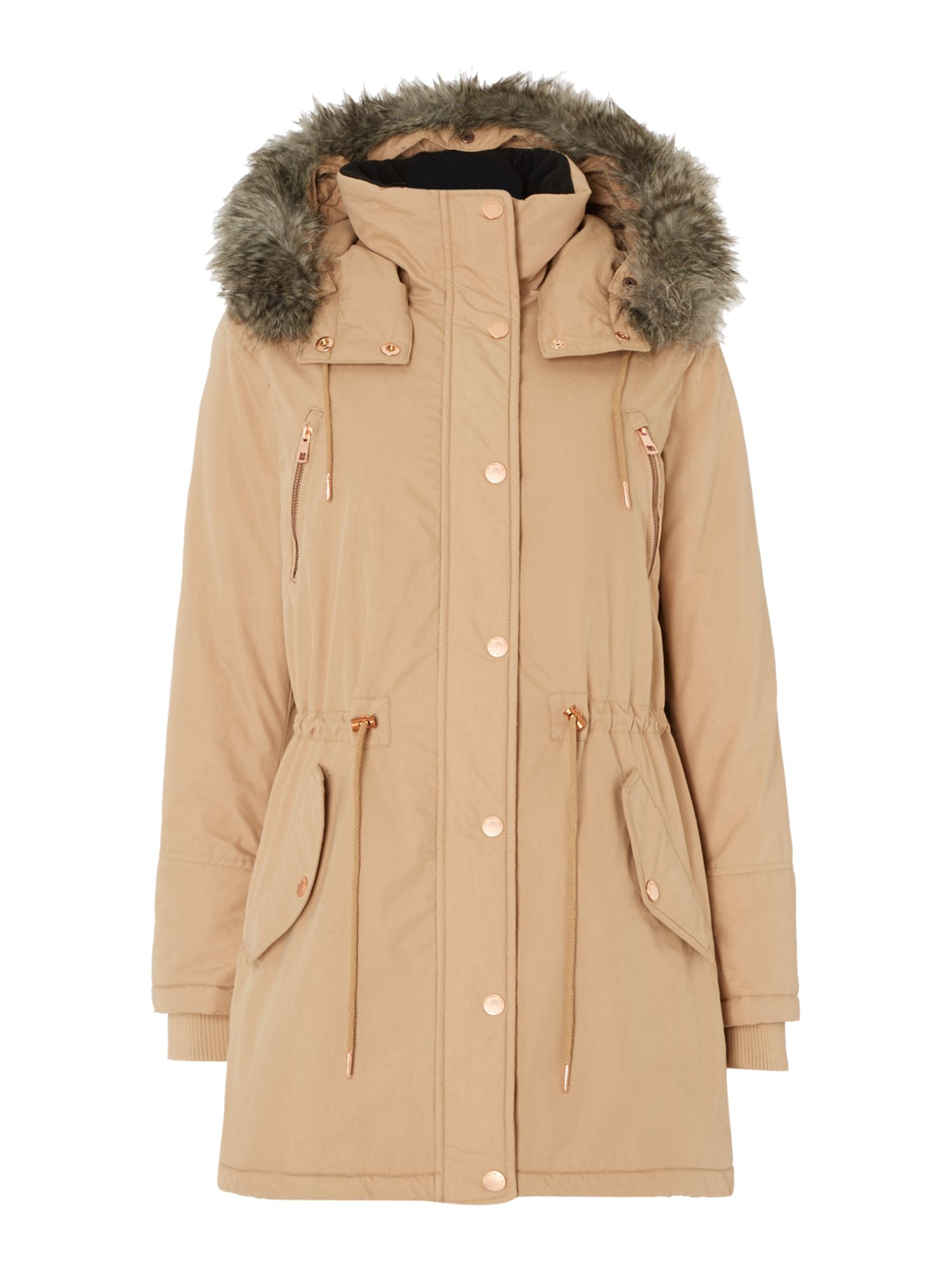 Calvin Klein Ottaline Padded Faux Fur Lined Hooded Coat, Camel