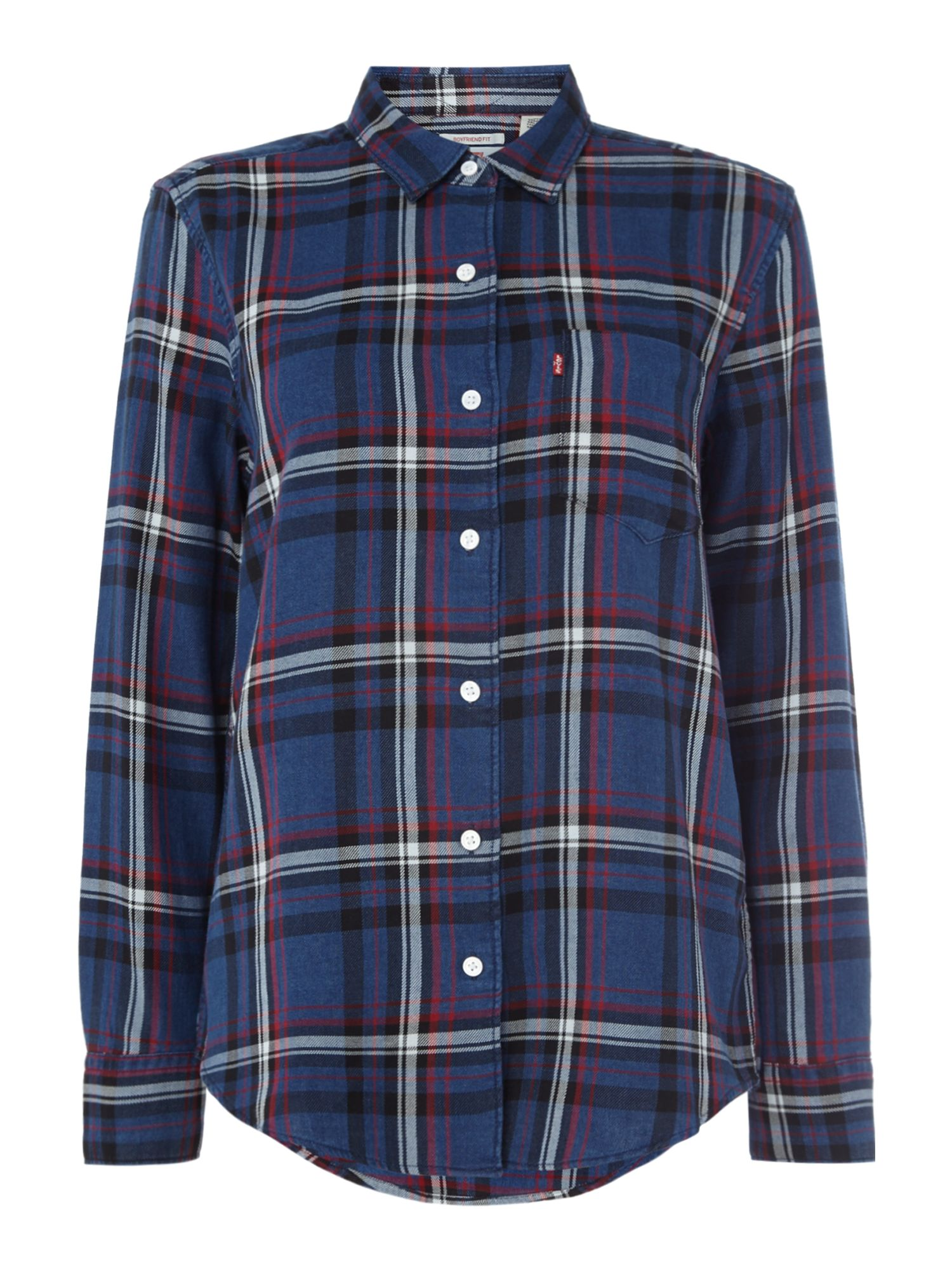 Levi's WT Checked Boyfriend Shirt with Pocket, Blue