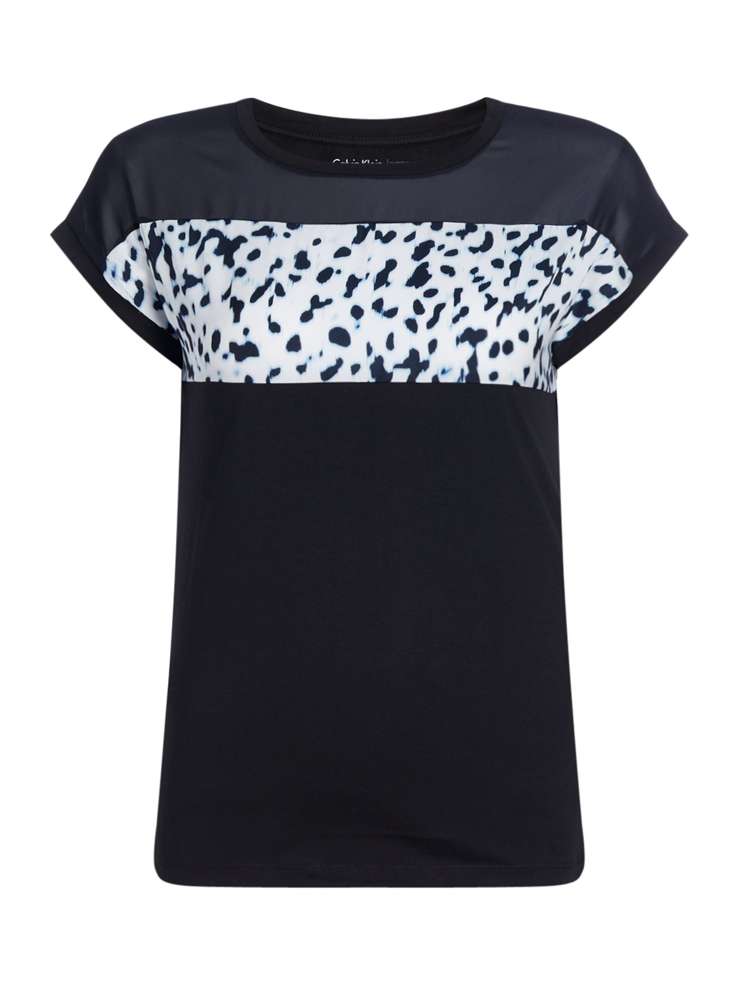 Calvin Klein Cap sleeves crew neck t shirt with pattern print, Black
