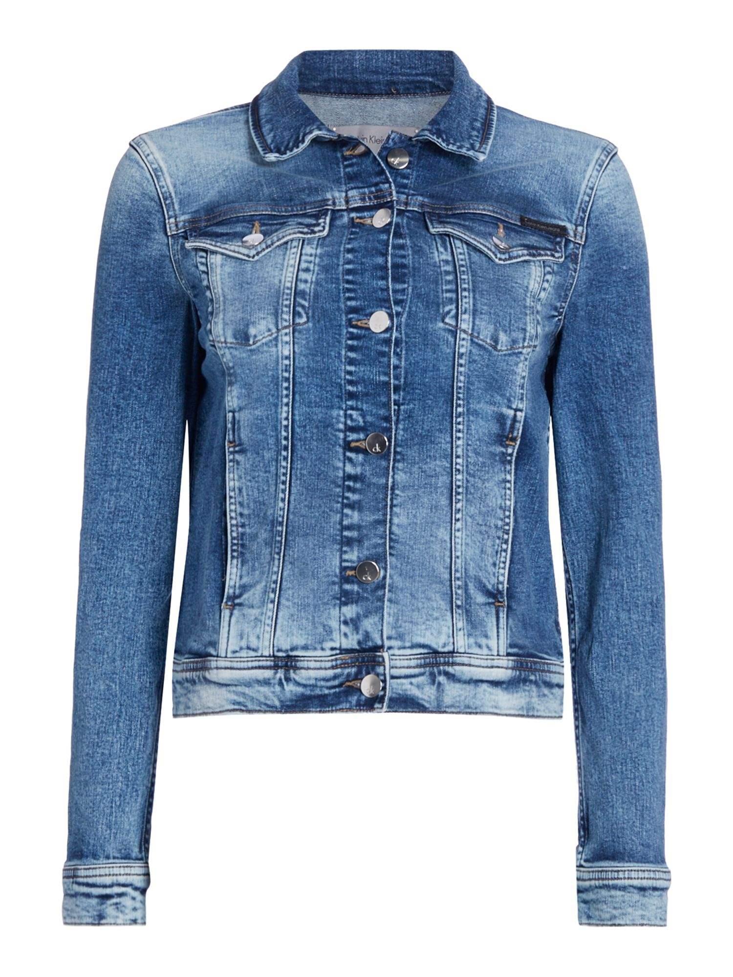 Calvin Klein Long sleeves Denim Jackit with Front Pockets, Denim Mid Wash