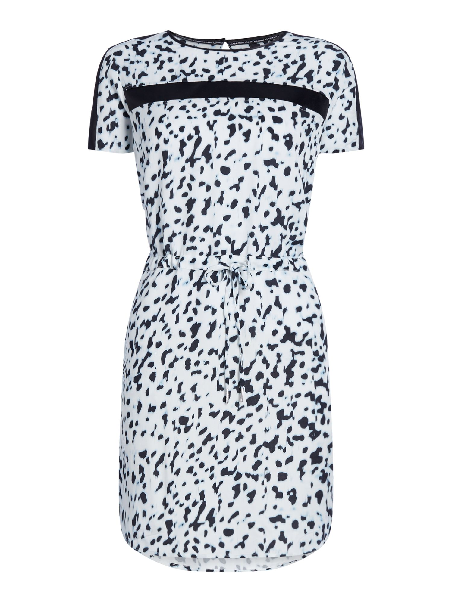 Calvin Klein Short sleeves Dress in Wild Metal AOP, White