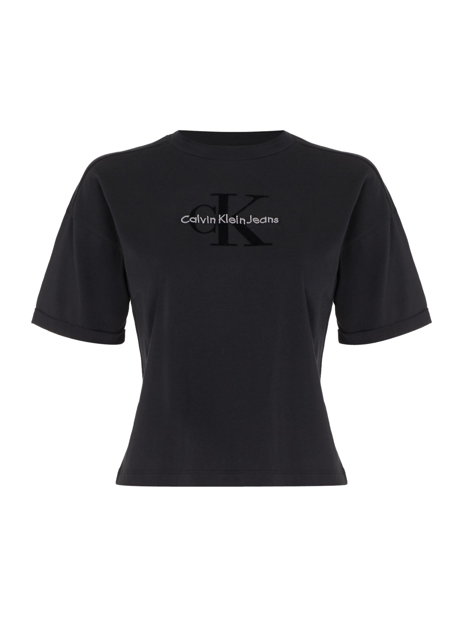 Calvin Klein Teco short sleeve true icon crop tshirt, Black