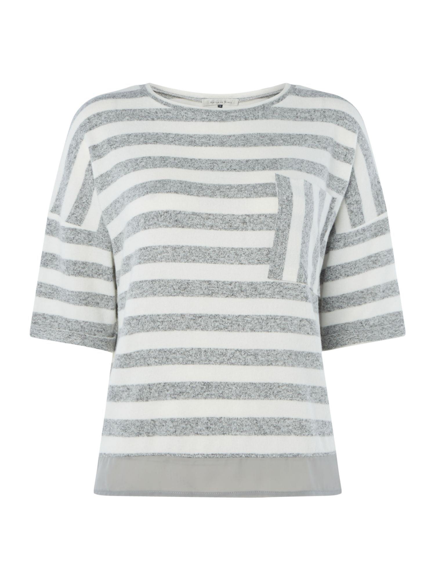 Maison De Nimes Stripe Pocket Boxy Tee, Grey