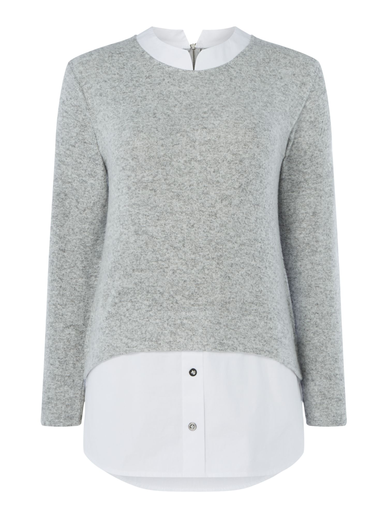 Maison De Nimes Cut and Sew Shirt Mix Jumper, Grey Marl