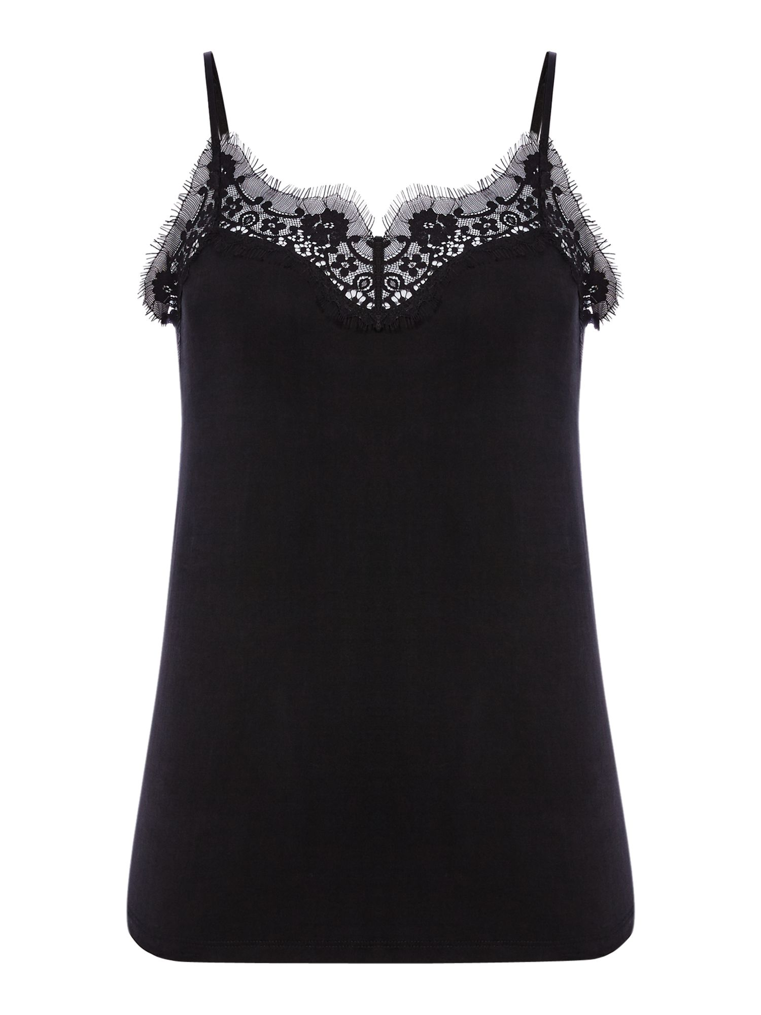 Samsoe and Samsoe Lace detail slip top, Black