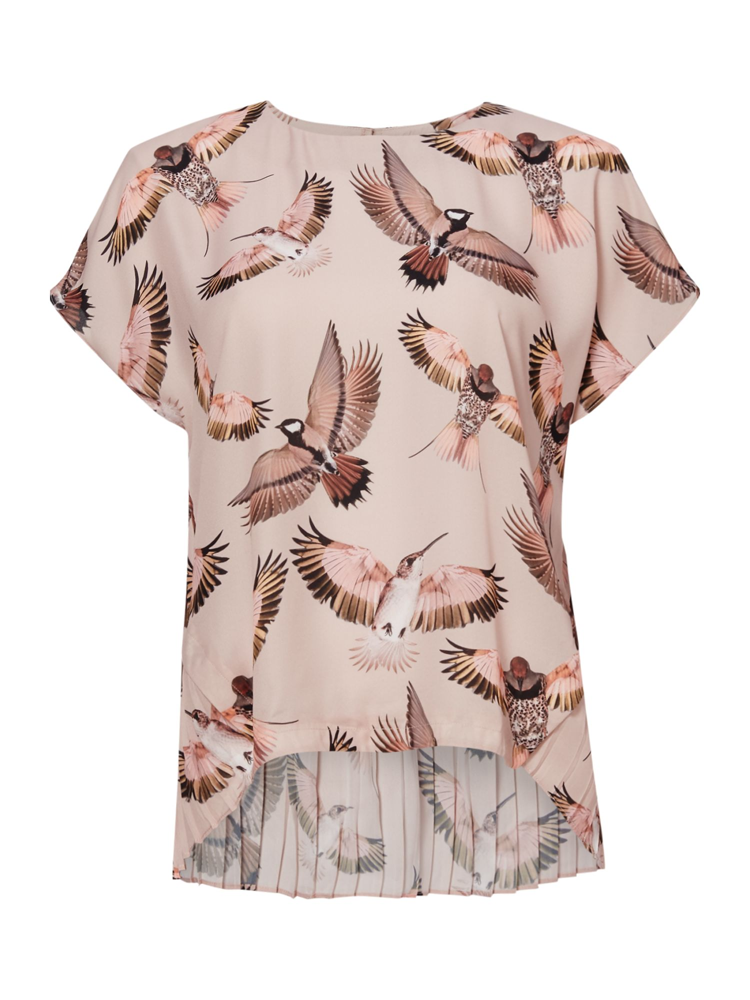 Twist and Tango Mandy Bird Print Blouse With Pleating, Pink