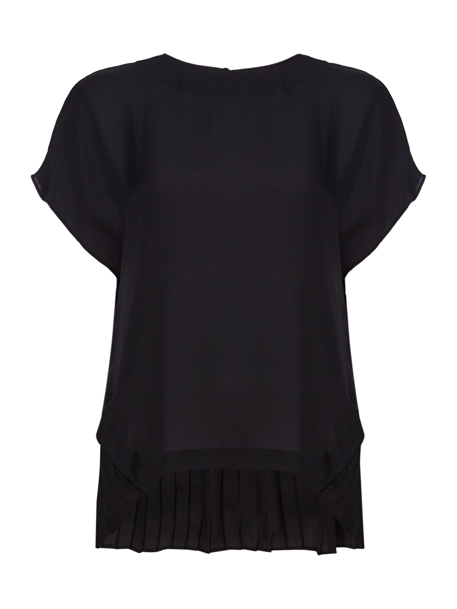 Twist and Tango Mandy Plain Blouse With Pleating, Black