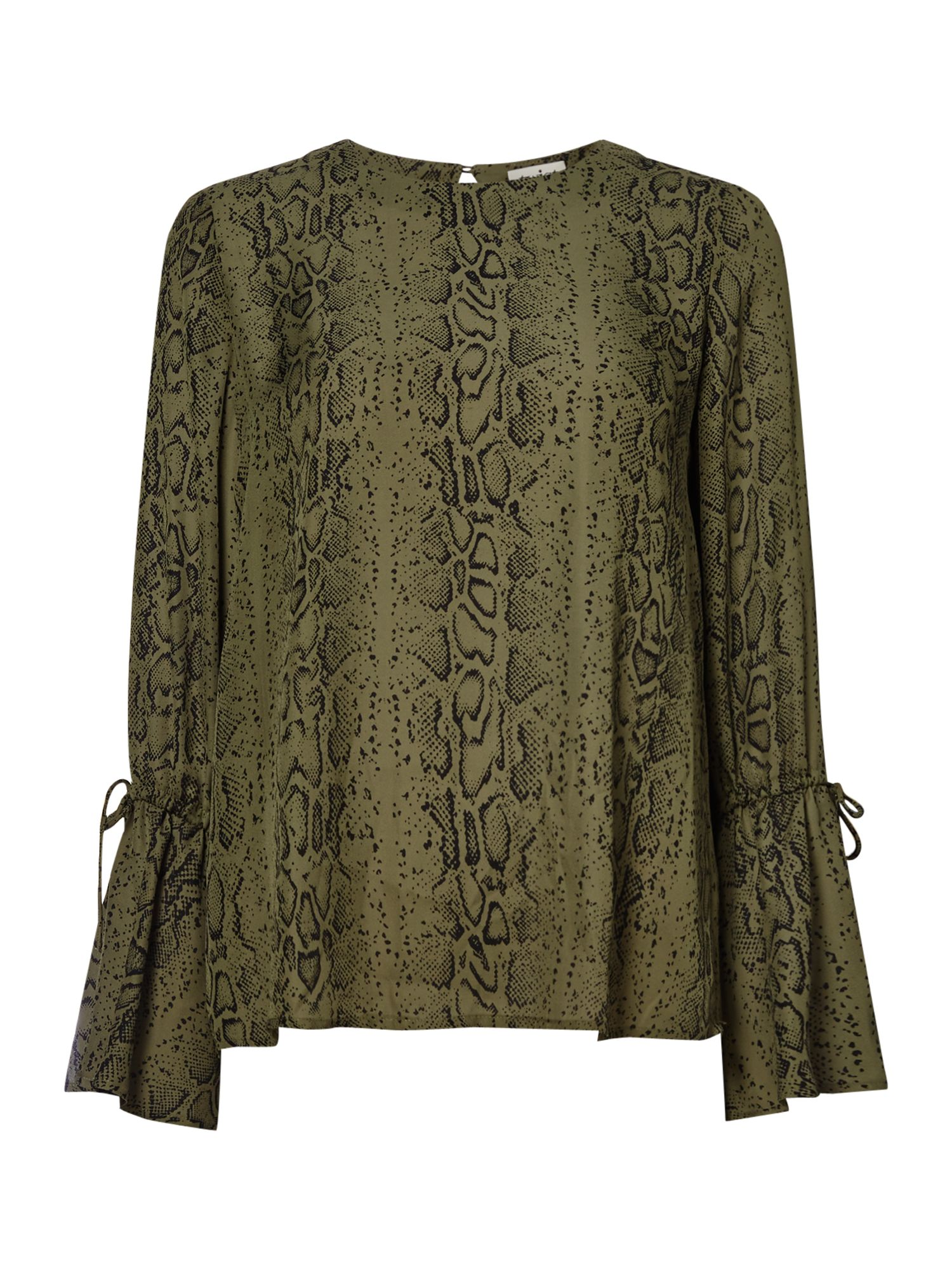 Twist and Tango Tracy Snake Print Flute Sleeve Blouse, Green